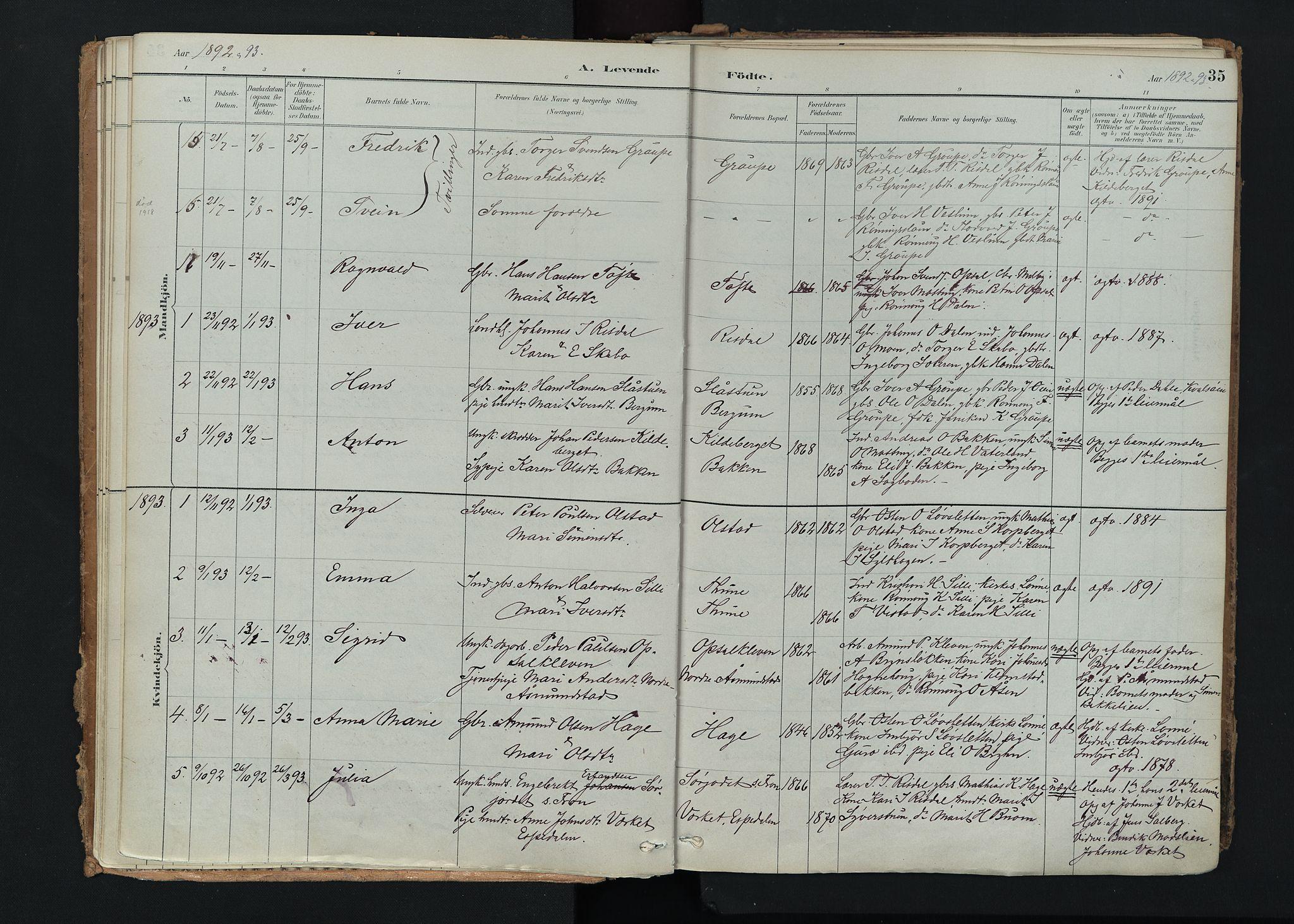 SAH, Nord-Fron prestekontor, Ministerialbok nr. 5, 1884-1914, s. 35