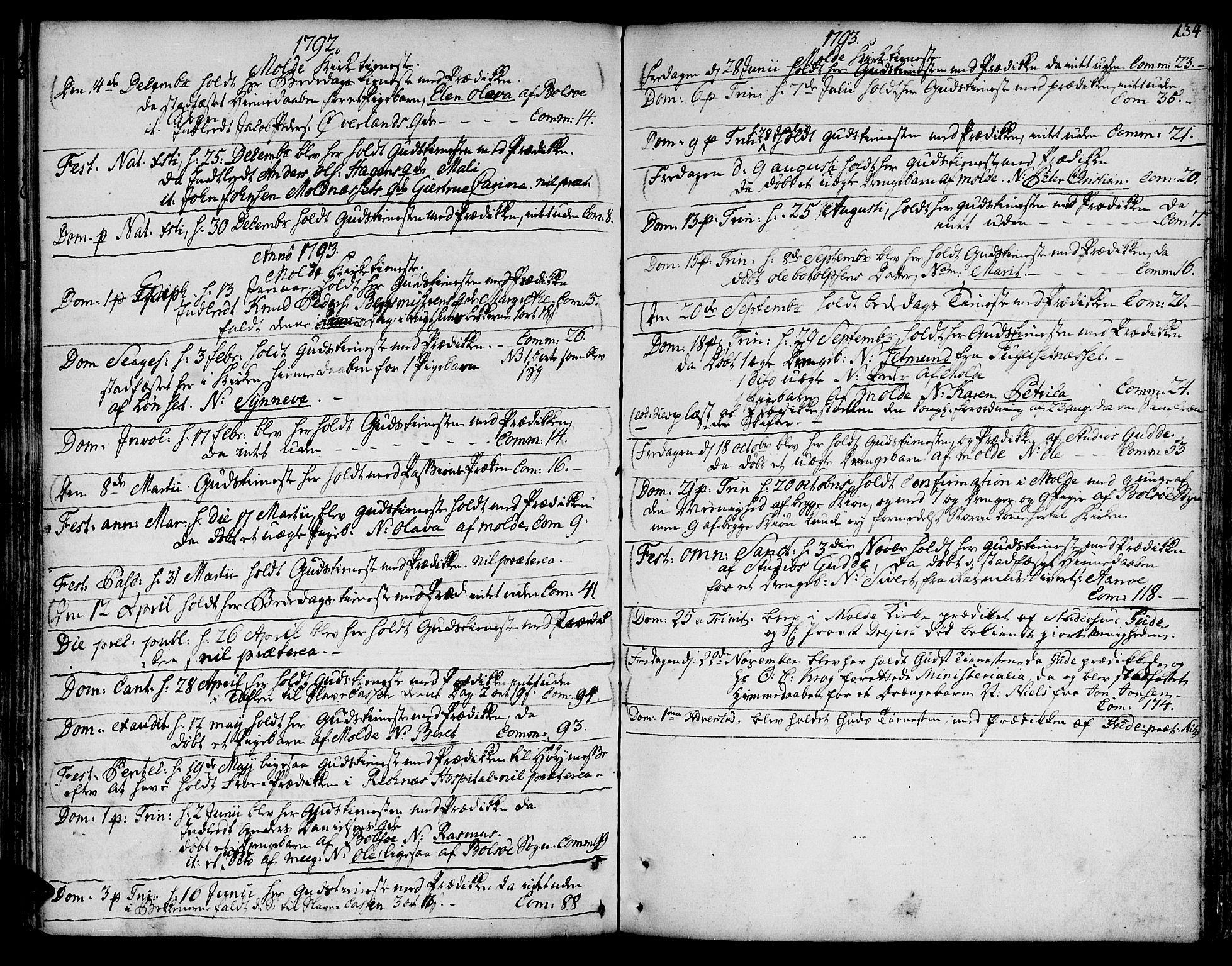 SAT, Ministerialprotokoller, klokkerbøker og fødselsregistre - Møre og Romsdal, 555/L0648: Ministerialbok nr. 555A01, 1759-1793, s. 134