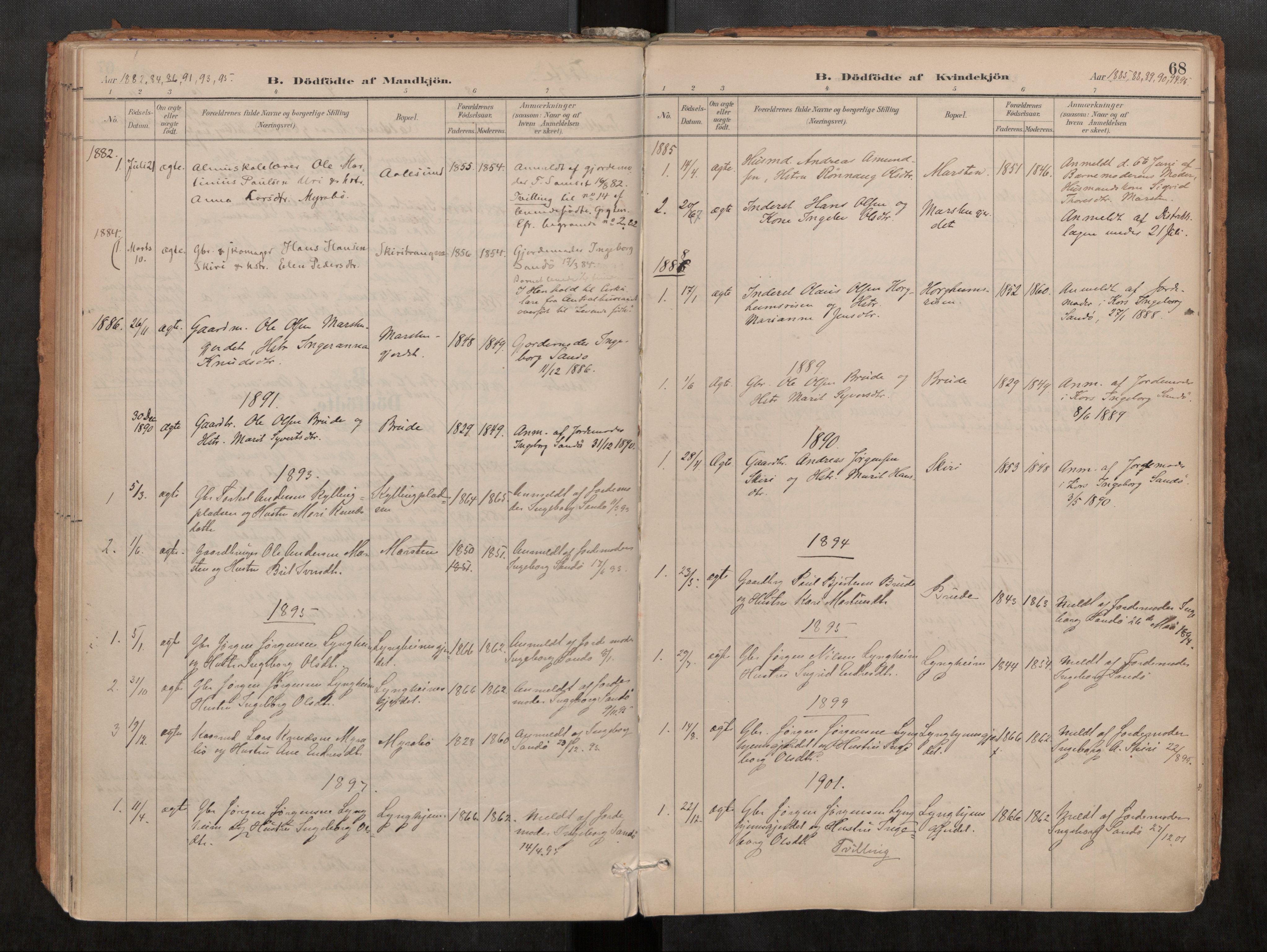 SAT, Grytten sokneprestkontor, Ministerialbok nr. 546A03, 1882-1920, s. 68