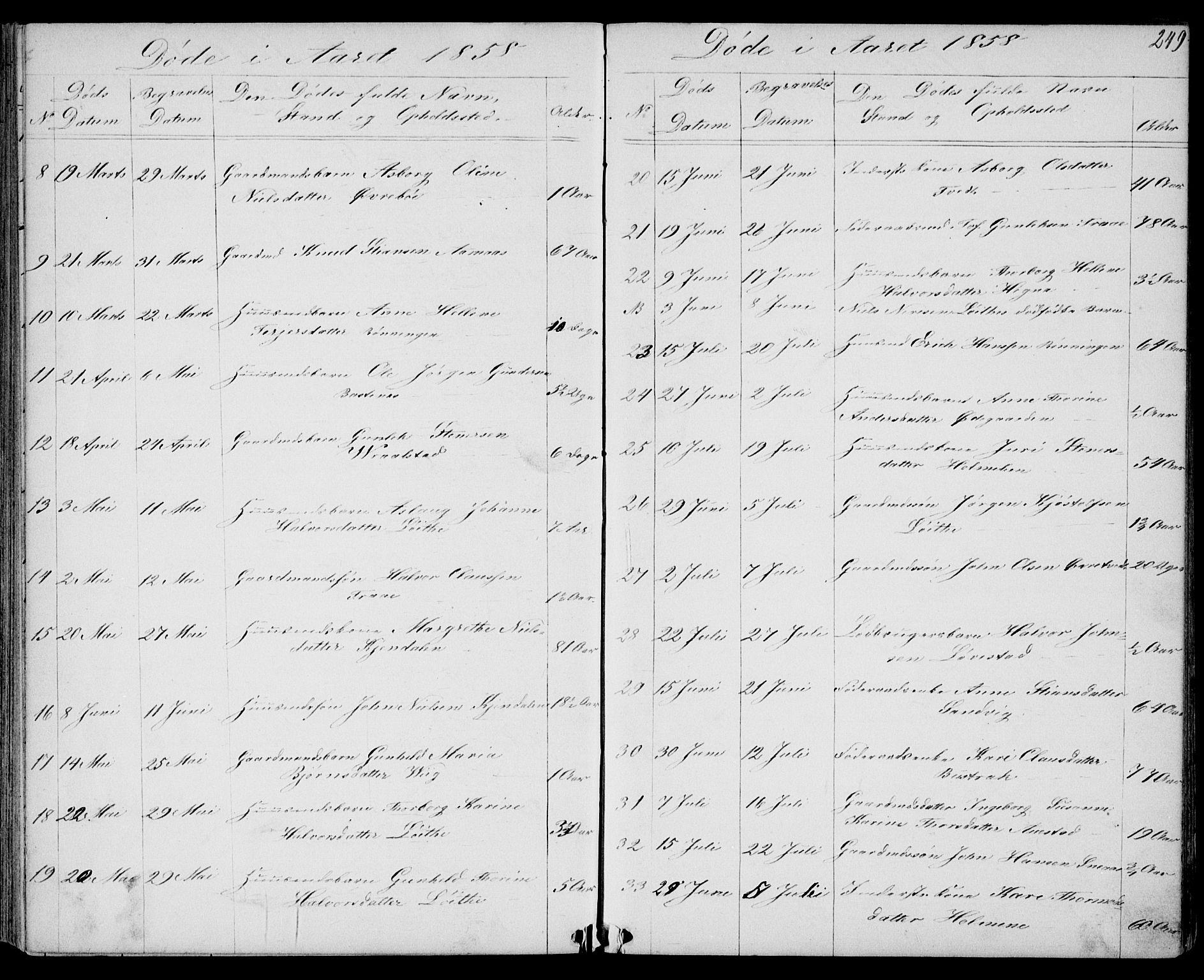 SAKO, Drangedal kirkebøker, G/Gb/L0001: Klokkerbok nr. II 1, 1856-1894, s. 249