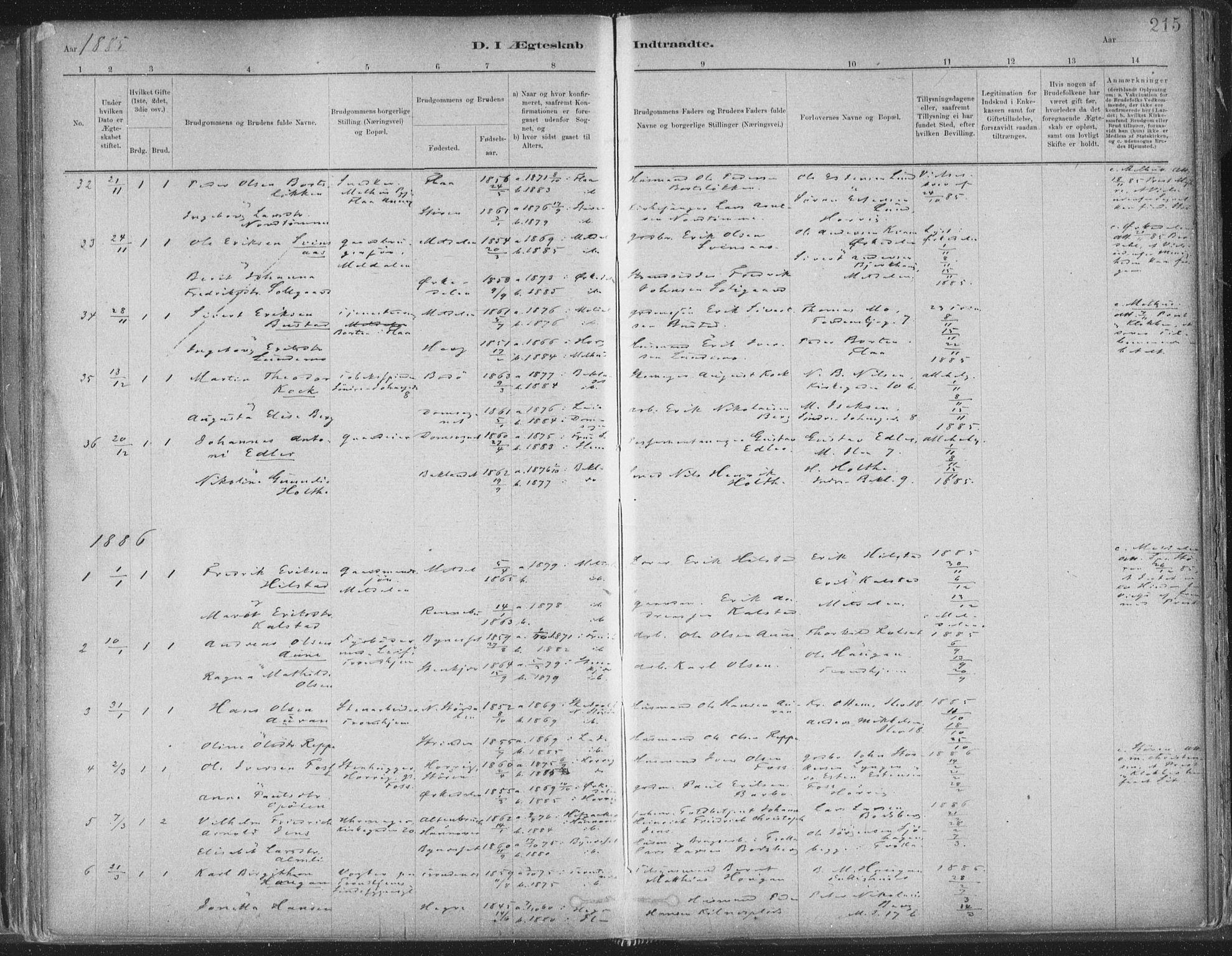 SAT, Ministerialprotokoller, klokkerbøker og fødselsregistre - Sør-Trøndelag, 603/L0162: Ministerialbok nr. 603A01, 1879-1895, s. 215
