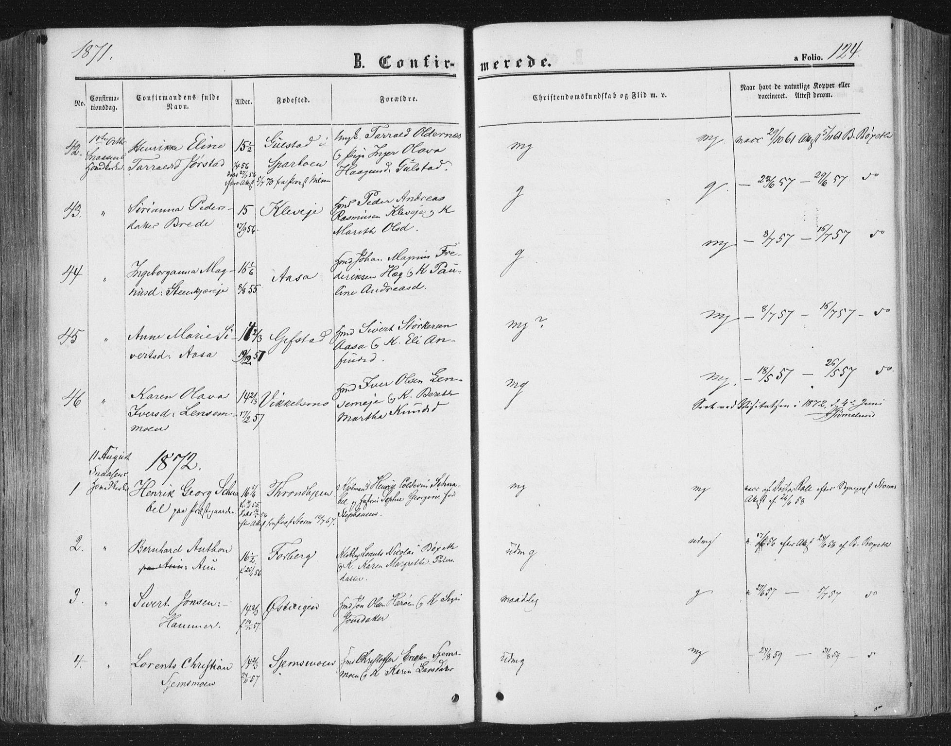 SAT, Ministerialprotokoller, klokkerbøker og fødselsregistre - Nord-Trøndelag, 749/L0472: Ministerialbok nr. 749A06, 1857-1873, s. 124