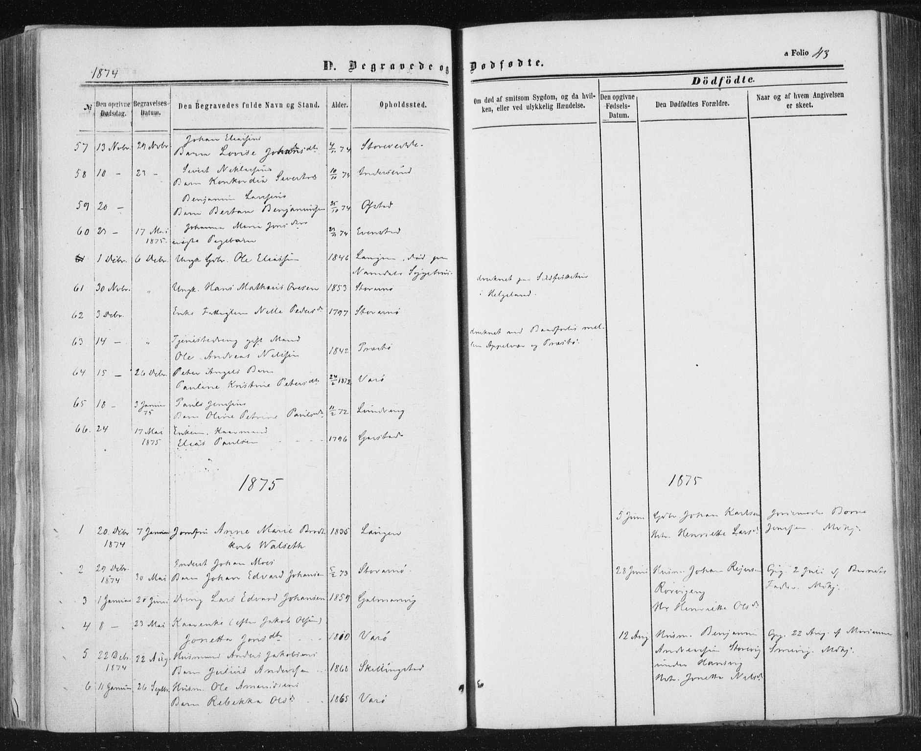 SAT, Ministerialprotokoller, klokkerbøker og fødselsregistre - Nord-Trøndelag, 784/L0670: Ministerialbok nr. 784A05, 1860-1876, s. 43