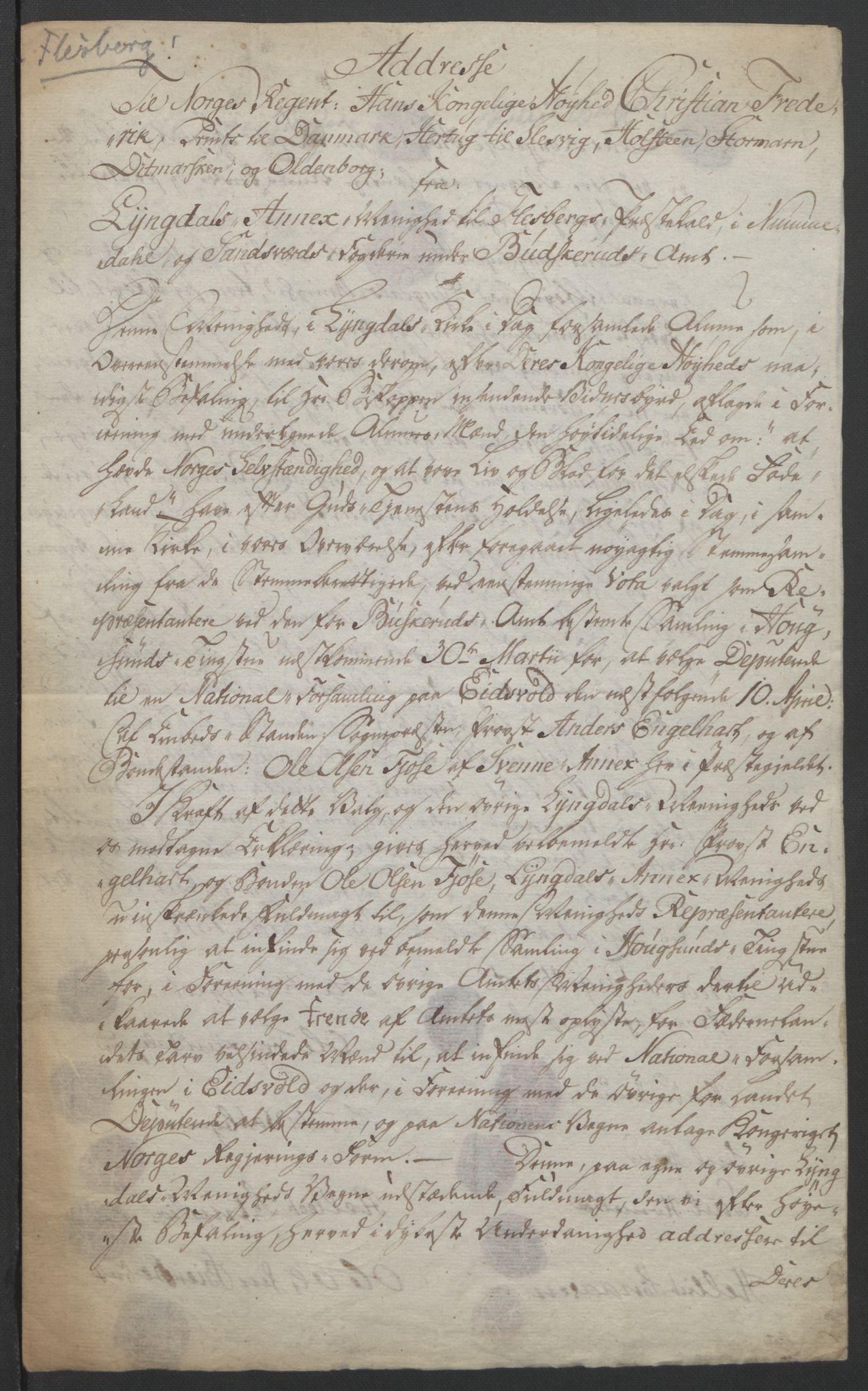 RA, Statsrådssekretariatet, D/Db/L0007: Fullmakter for Eidsvollsrepresentantene i 1814. , 1814, s. 312