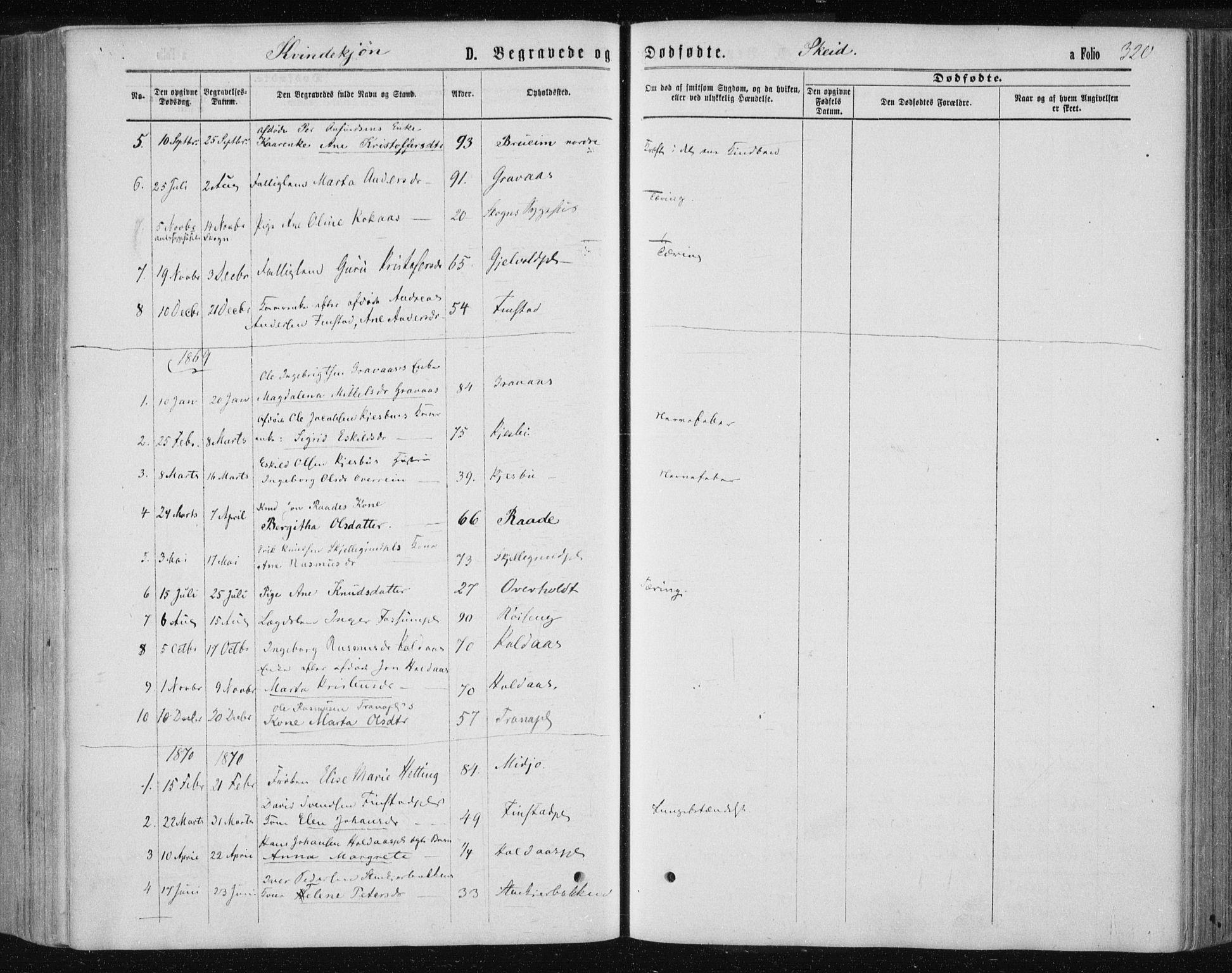 SAT, Ministerialprotokoller, klokkerbøker og fødselsregistre - Nord-Trøndelag, 735/L0345: Ministerialbok nr. 735A08 /2, 1863-1872, s. 320