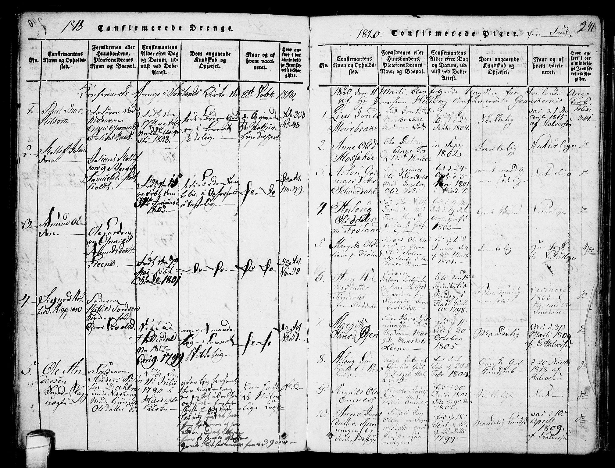 SAKO, Hjartdal kirkebøker, F/Fb/L0001: Ministerialbok nr. II 1, 1815-1843, s. 241