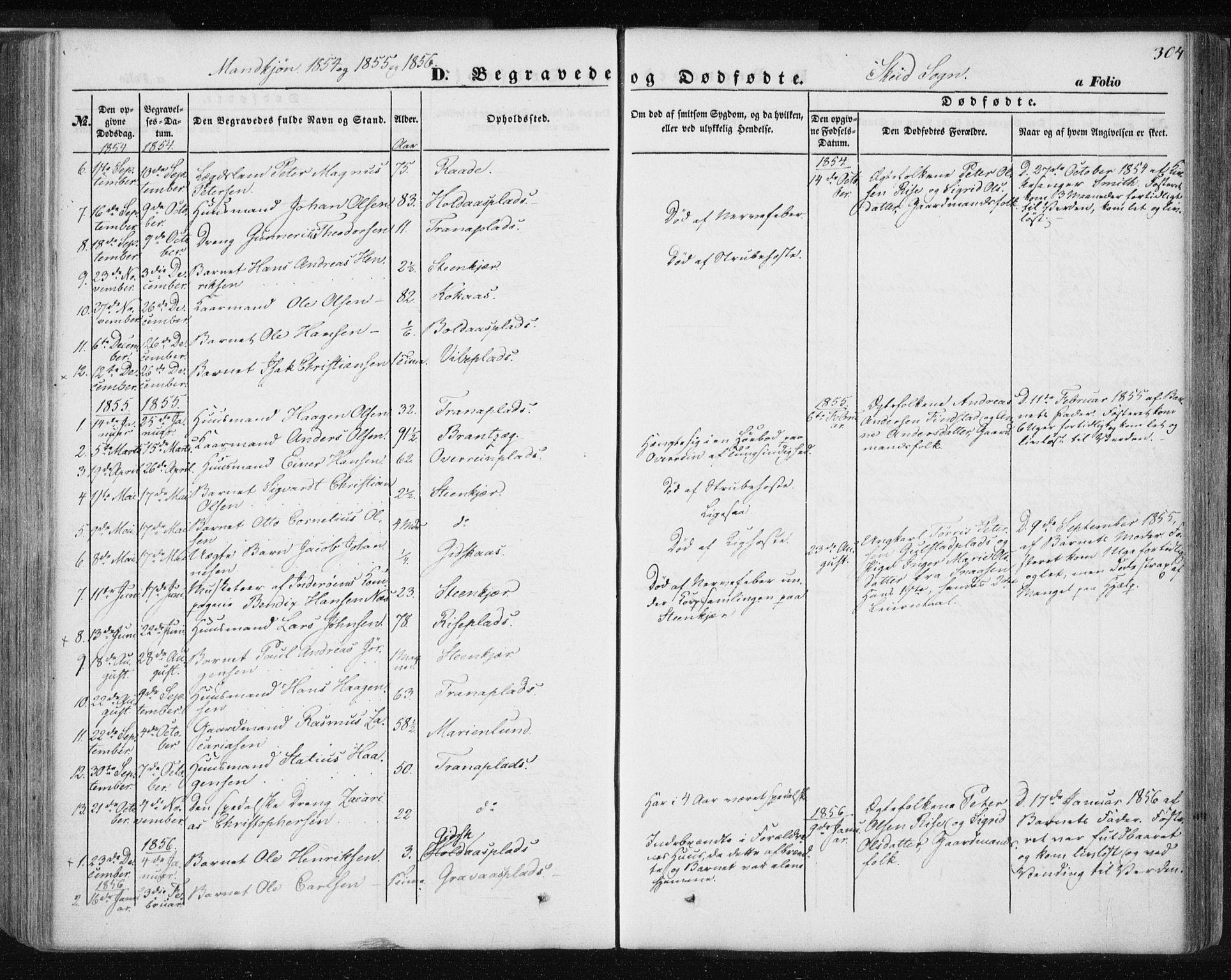 SAT, Ministerialprotokoller, klokkerbøker og fødselsregistre - Nord-Trøndelag, 735/L0342: Ministerialbok nr. 735A07 /2, 1849-1862, s. 304