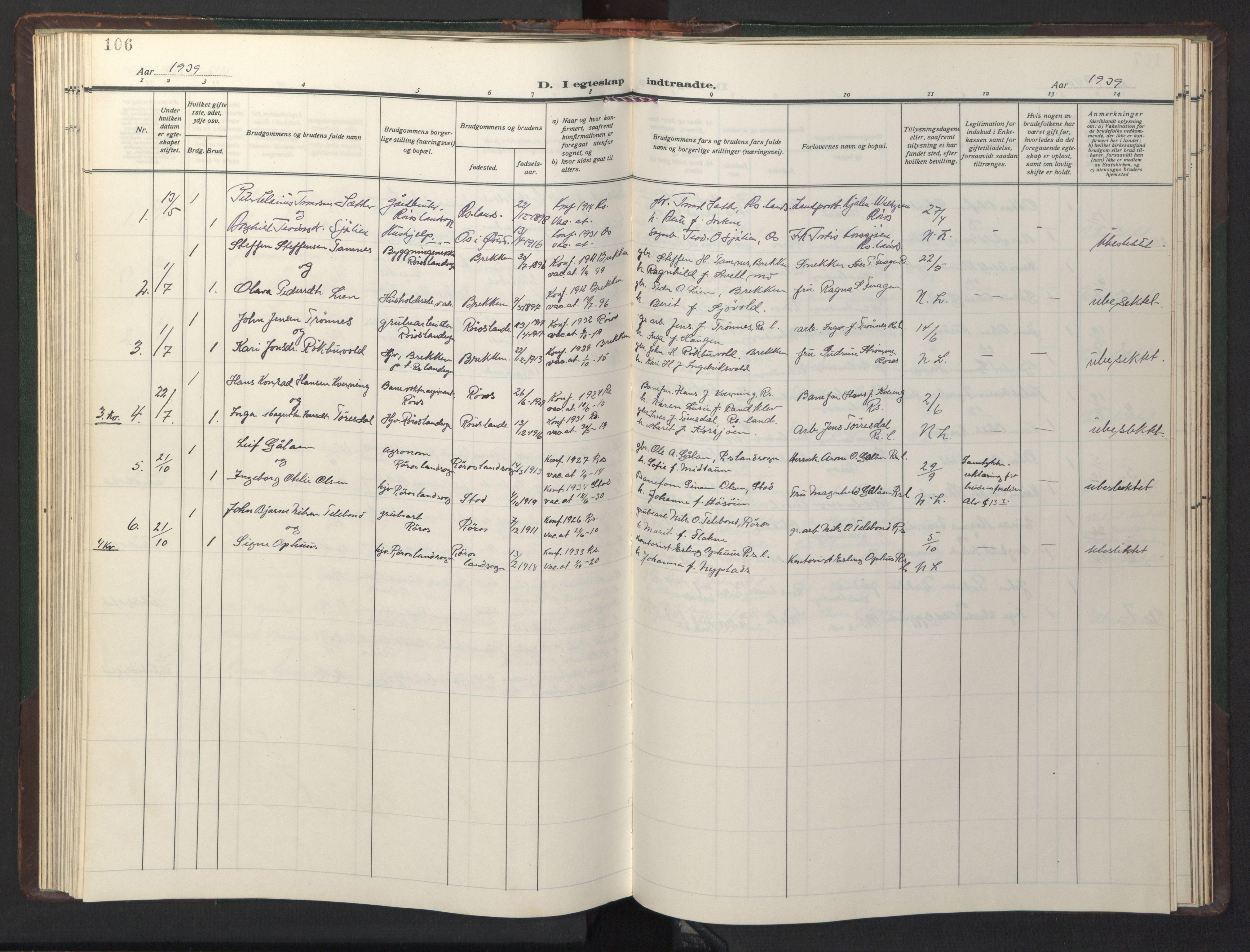 SAT, Ministerialprotokoller, klokkerbøker og fødselsregistre - Sør-Trøndelag, 681/L0944: Klokkerbok nr. 681C08, 1926-1954, s. 106