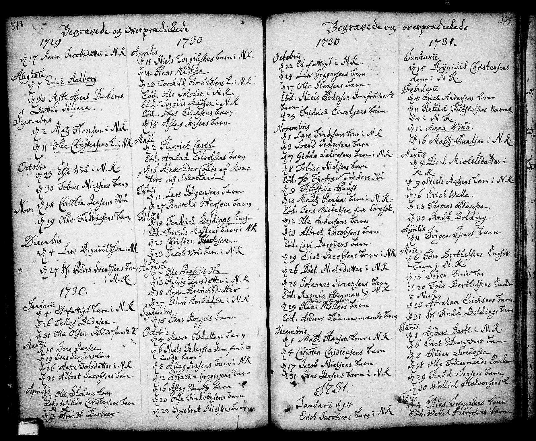 SAKO, Kragerø kirkebøker, F/Fa/L0001: Ministerialbok nr. 1, 1702-1766, s. 378-379