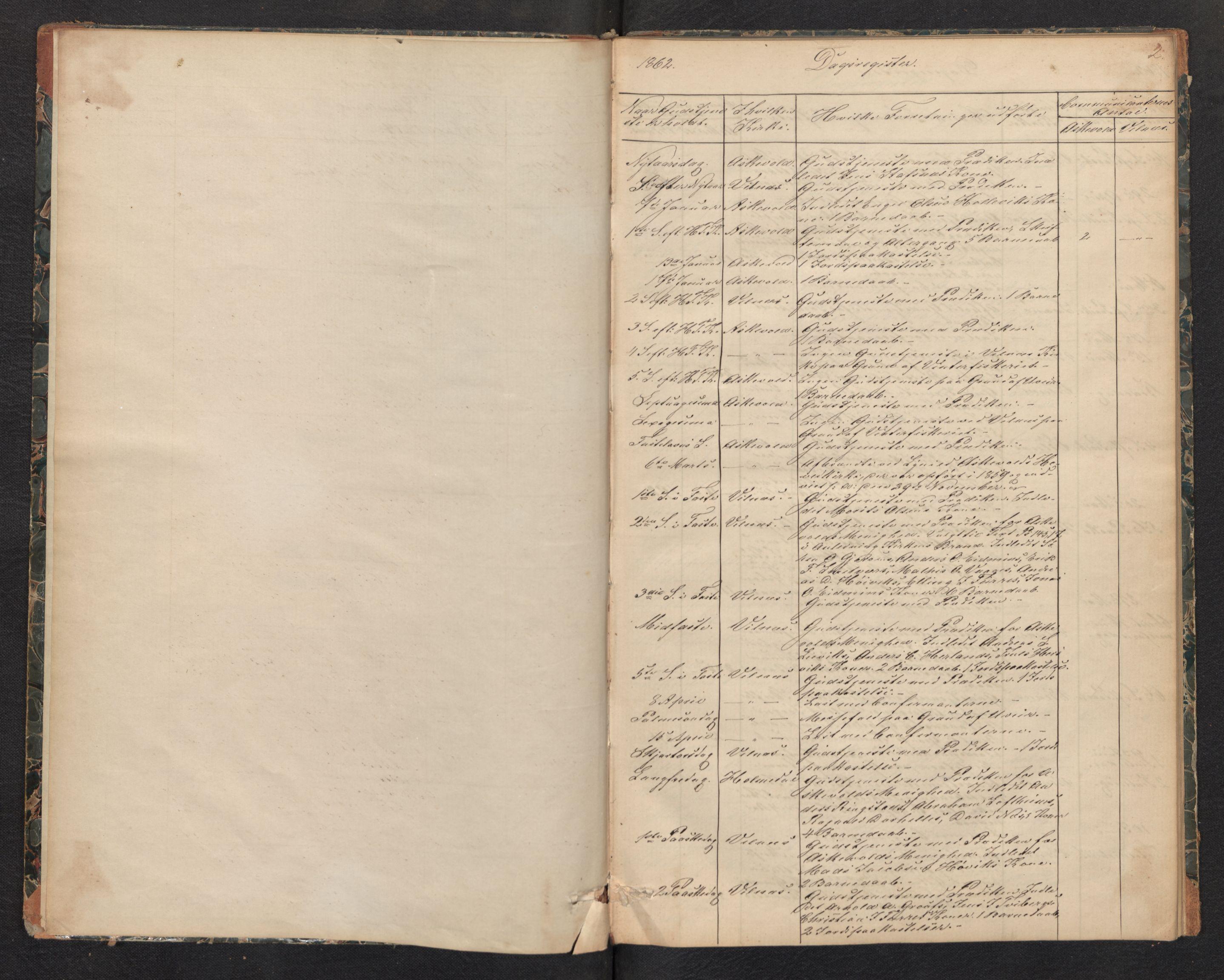 SAB, Askvoll Sokneprestembete, Dagregister nr. D 1, 1862-1878, s. 1b-2a