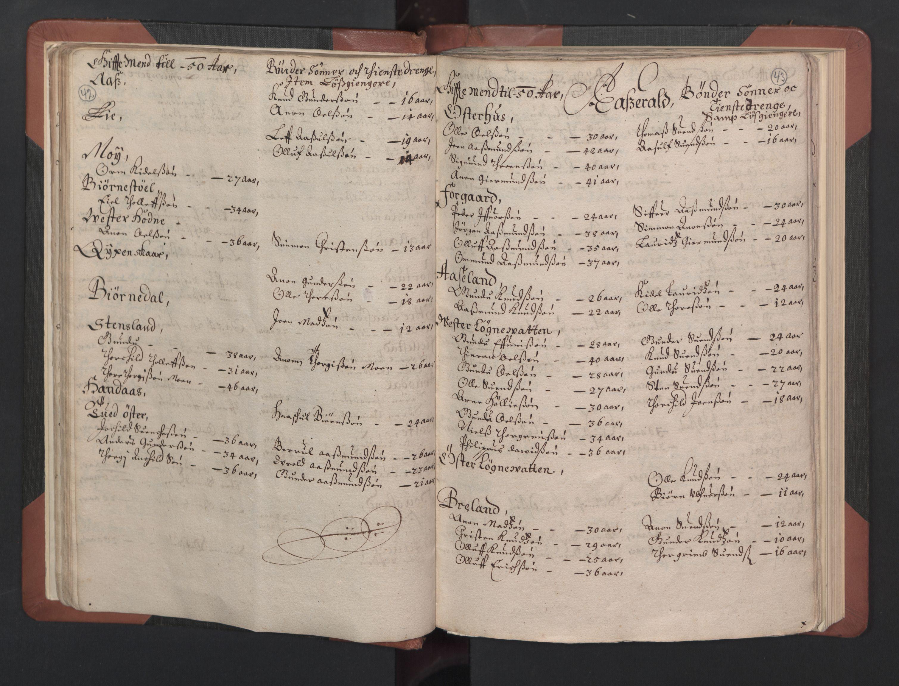 RA, Fogdenes og sorenskrivernes manntall 1664-1666, nr. 8: Råbyggelaget fogderi, 1664-1665, s. 42-43