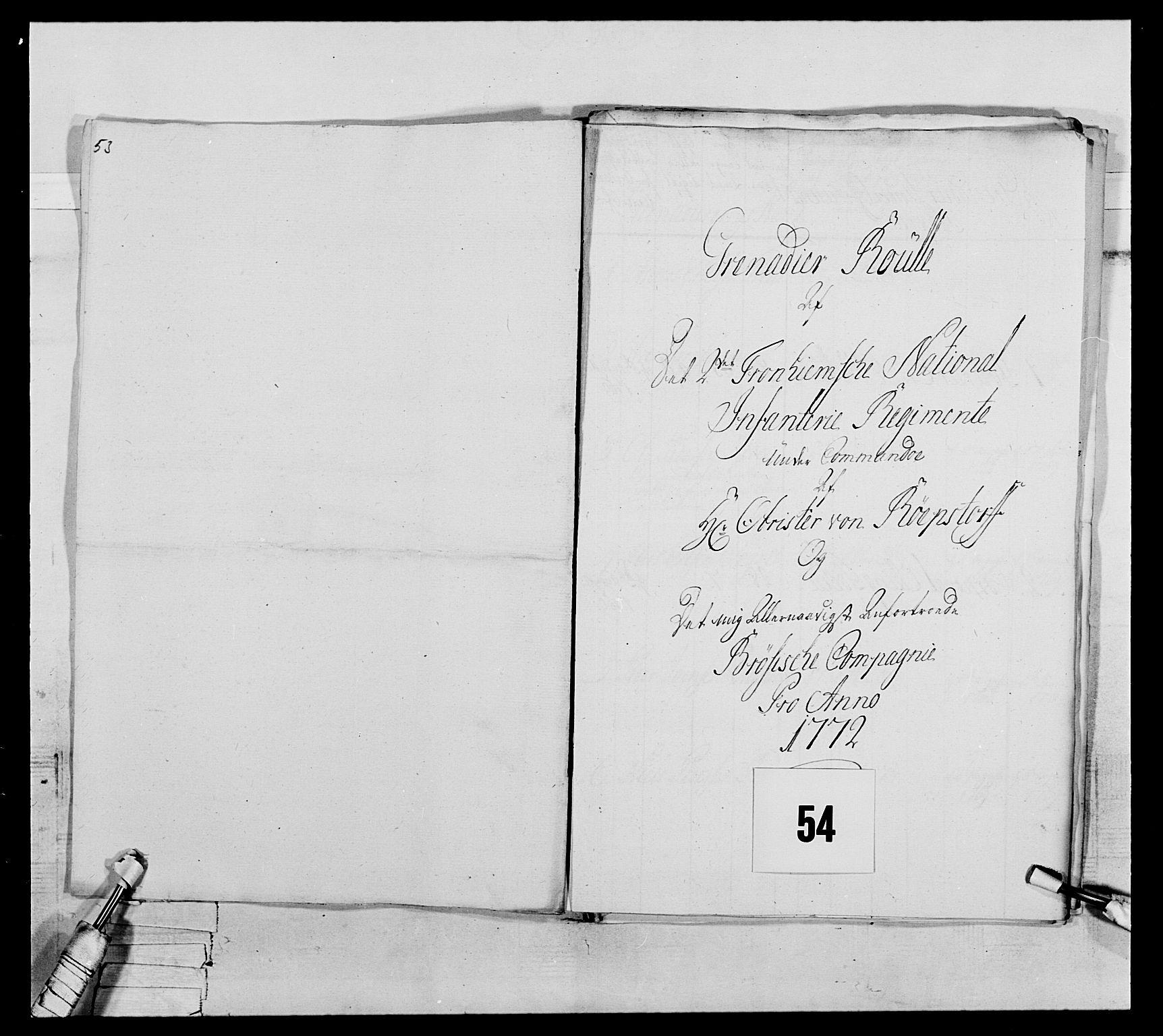 RA, Generalitets- og kommissariatskollegiet, Det kongelige norske kommissariatskollegium, E/Eh/L0076: 2. Trondheimske nasjonale infanteriregiment, 1766-1773, s. 183