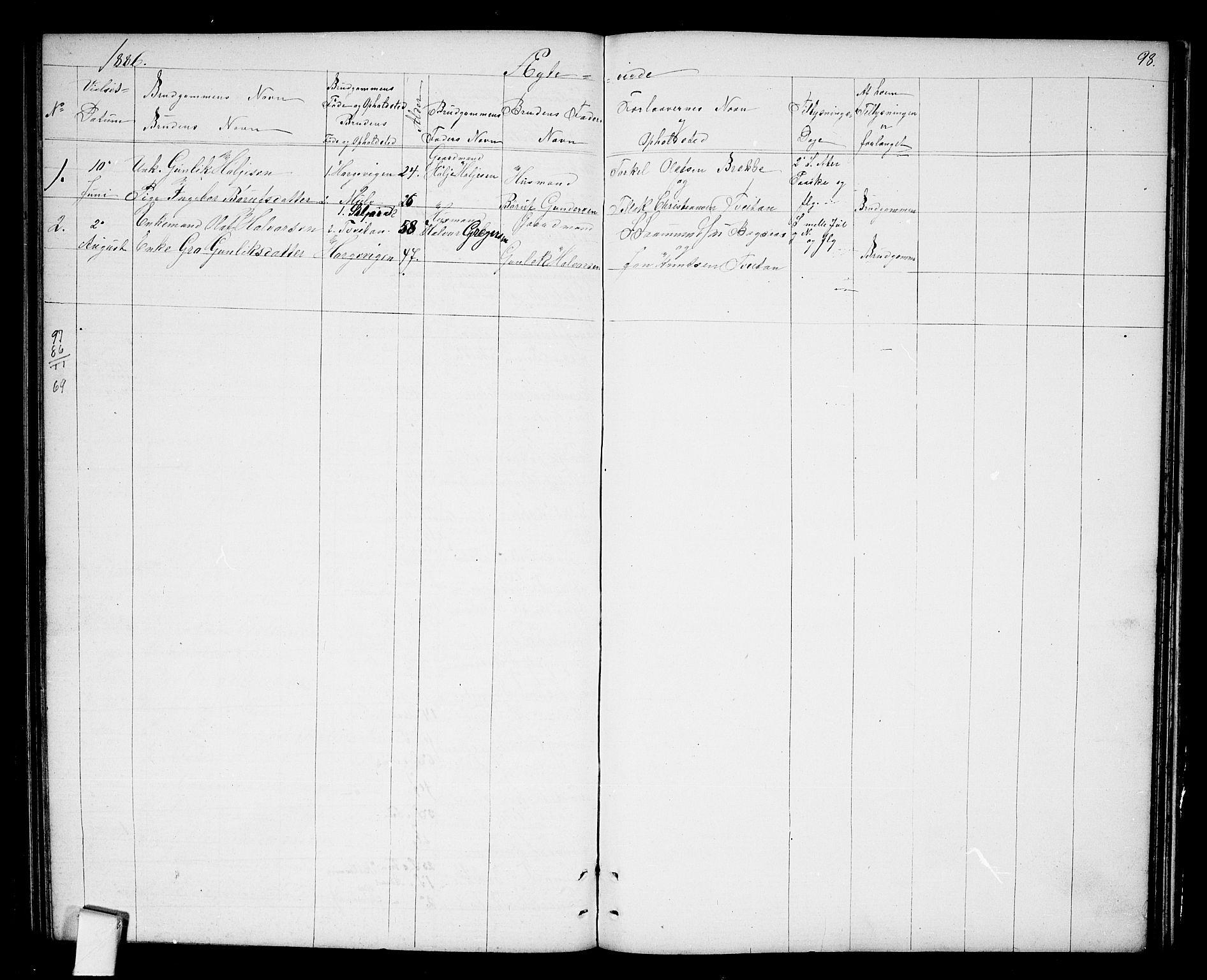 SAKO, Nissedal kirkebøker, G/Ga/L0002: Klokkerbok nr. I 2, 1861-1887, s. 98