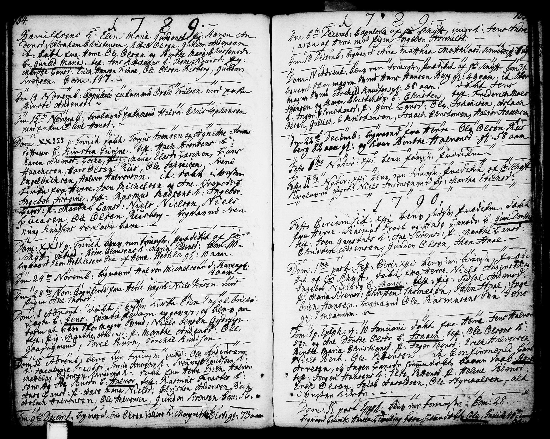 SAKO, Porsgrunn kirkebøker , F/Fa/L0002: Ministerialbok nr. 2, 1764-1814, s. 154-155