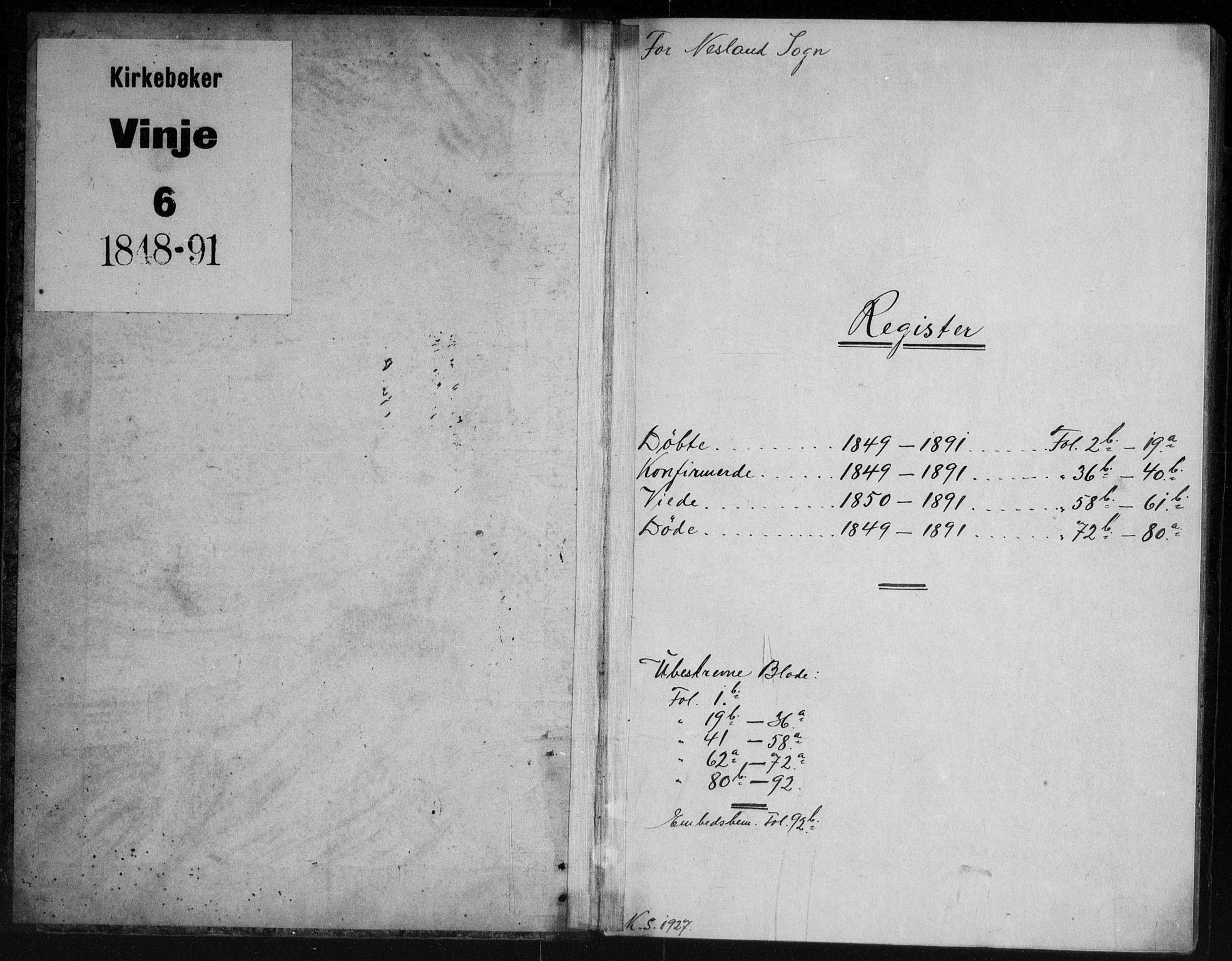 SAKO, Vinje kirkebøker, G/Gb/L0002: Klokkerbok nr. II 2, 1849-1891