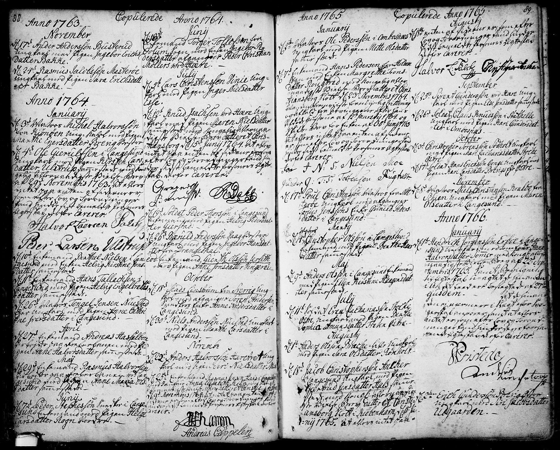 SAKO, Bamble kirkebøker, F/Fa/L0001: Ministerialbok nr. I 1, 1702-1774, s. 88-89