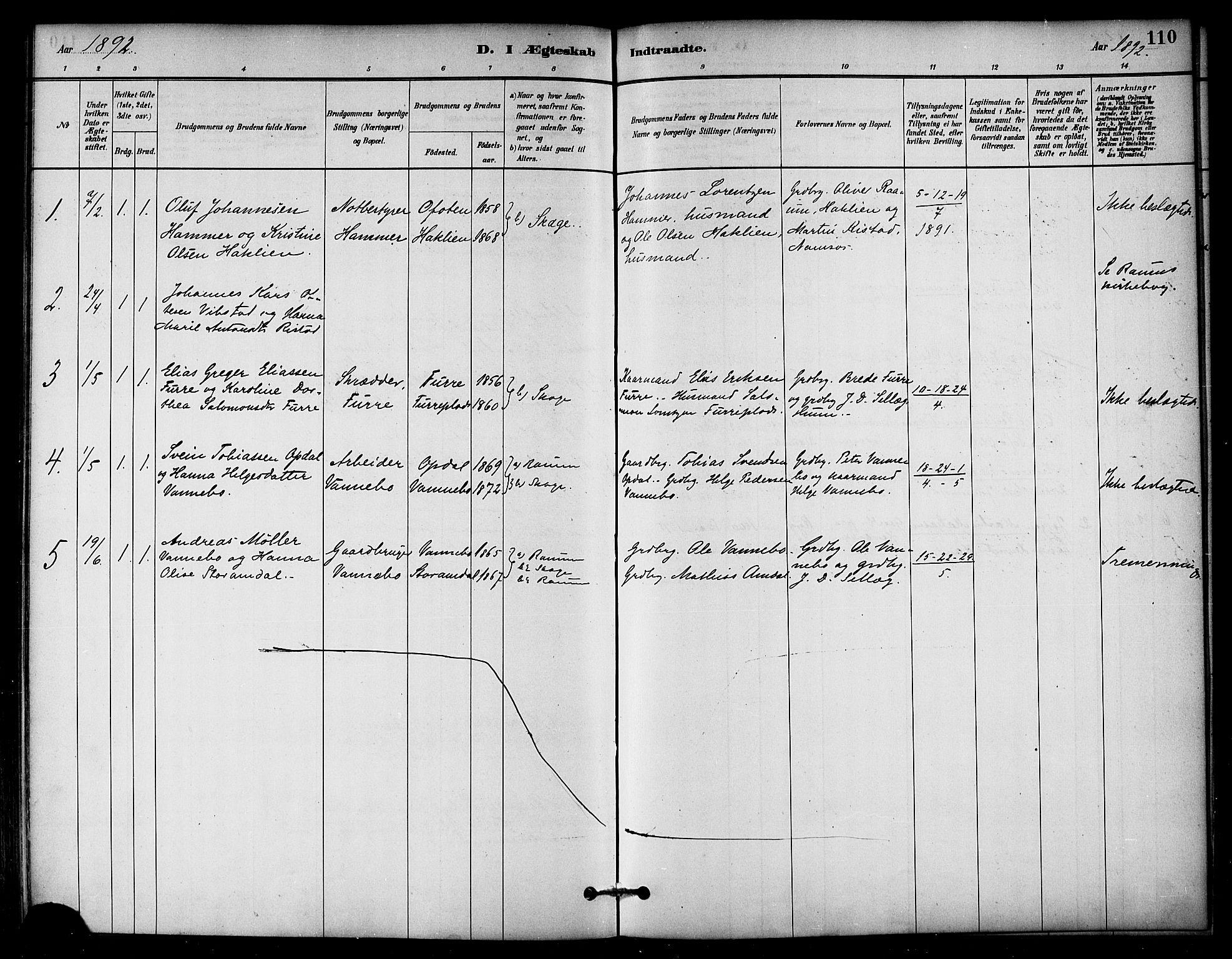 SAT, Ministerialprotokoller, klokkerbøker og fødselsregistre - Nord-Trøndelag, 766/L0563: Ministerialbok nr. 767A01, 1881-1899, s. 110