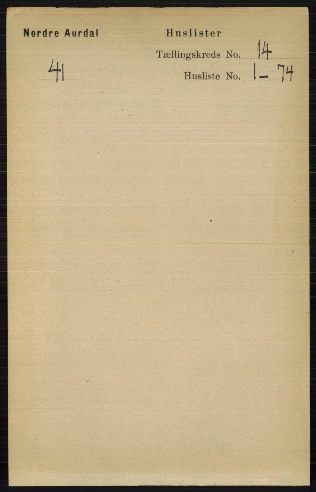 RA, Folketelling 1891 for 0542 Nord-Aurdal herred, 1891, s. 5136