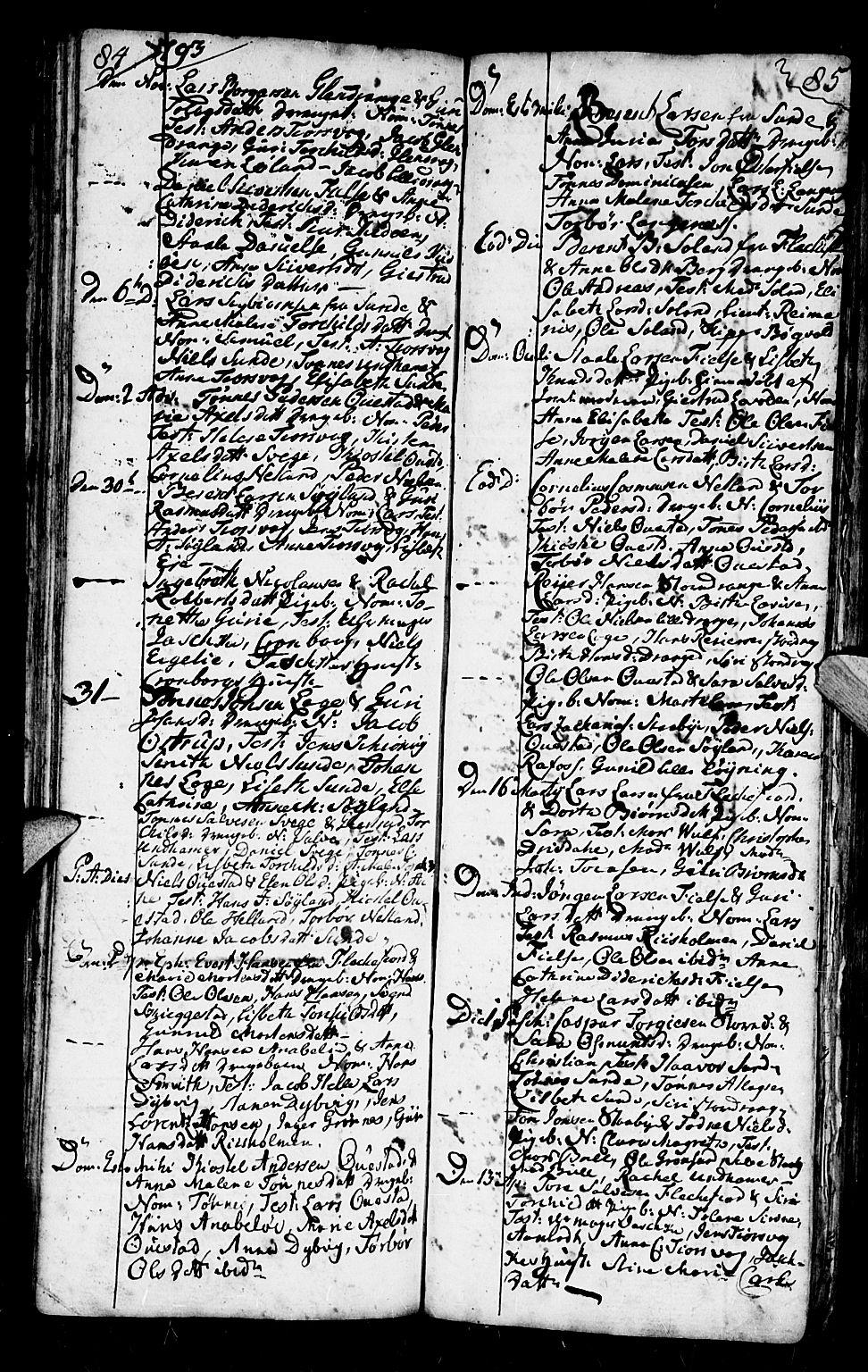 SAK, Flekkefjord sokneprestkontor, F/Fb/Fbc/L0001: Klokkerbok nr. B 1, 1773-1801, s. 84-85