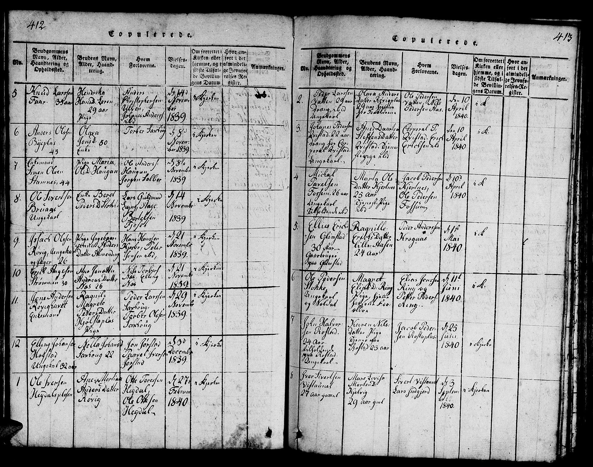 SAT, Ministerialprotokoller, klokkerbøker og fødselsregistre - Nord-Trøndelag, 730/L0298: Klokkerbok nr. 730C01, 1816-1849, s. 412-413