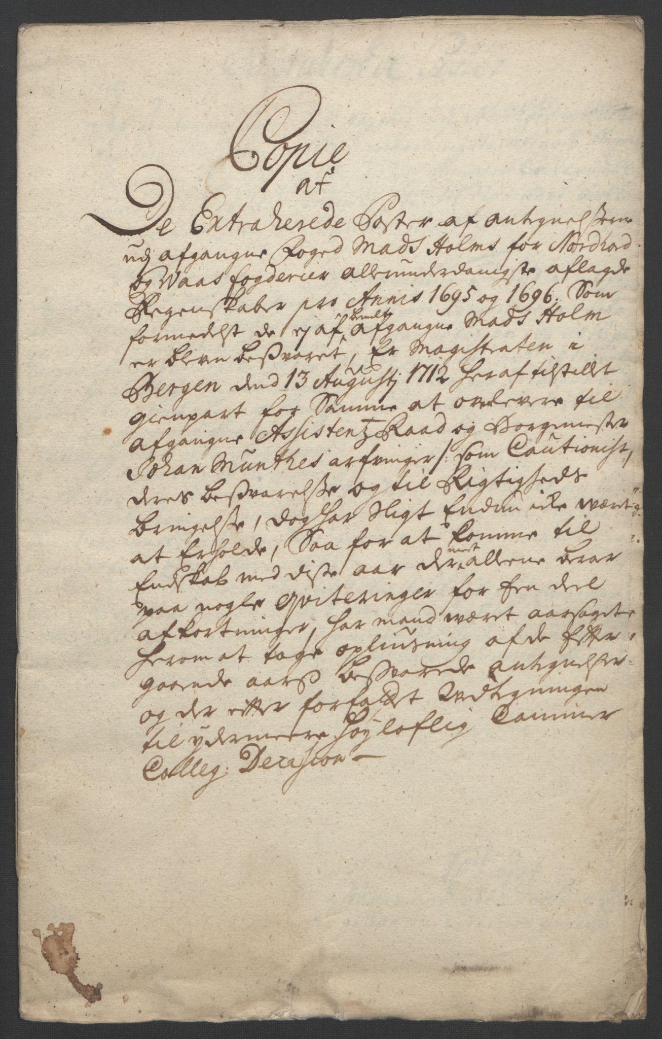 RA, Rentekammeret inntil 1814, Reviderte regnskaper, Fogderegnskap, R51/L3183: Fogderegnskap Nordhordland og Voss, 1695-1697, s. 293