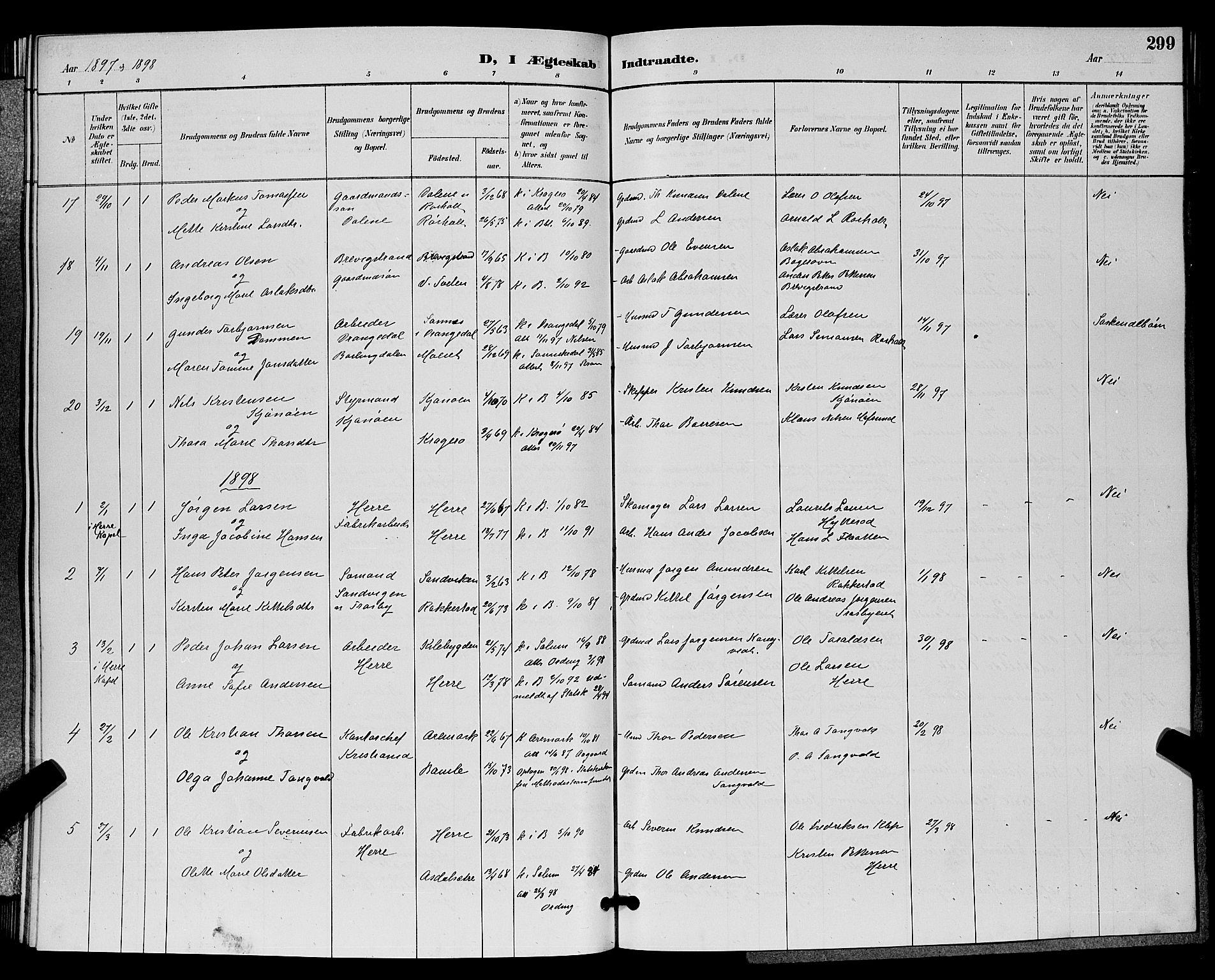 SAKO, Bamble kirkebøker, G/Ga/L0009: Klokkerbok nr. I 9, 1888-1900, s. 299