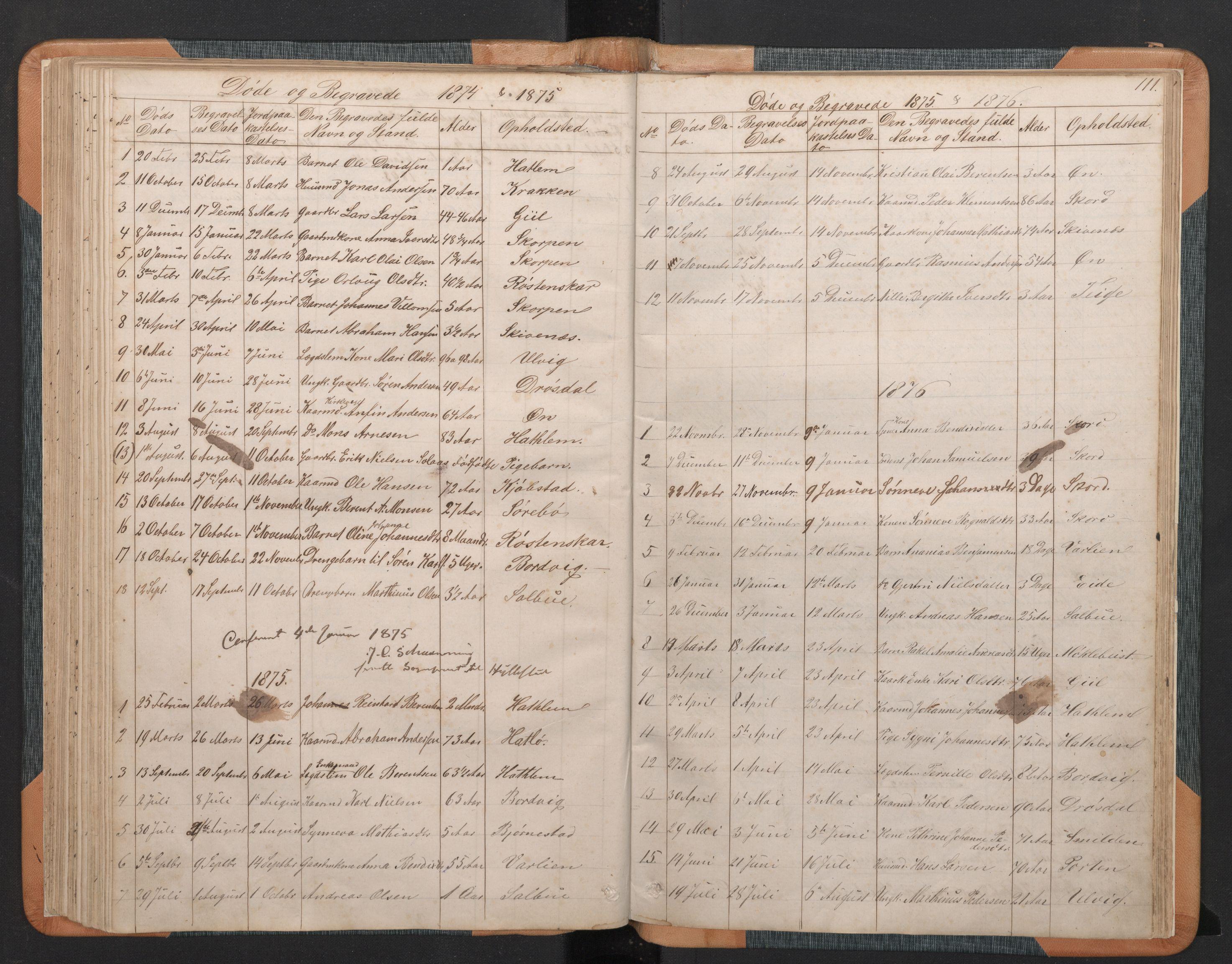 SAB, Hyllestad Sokneprestembete, Klokkerbok nr. C 2, 1874-1894, s. 110b-111a