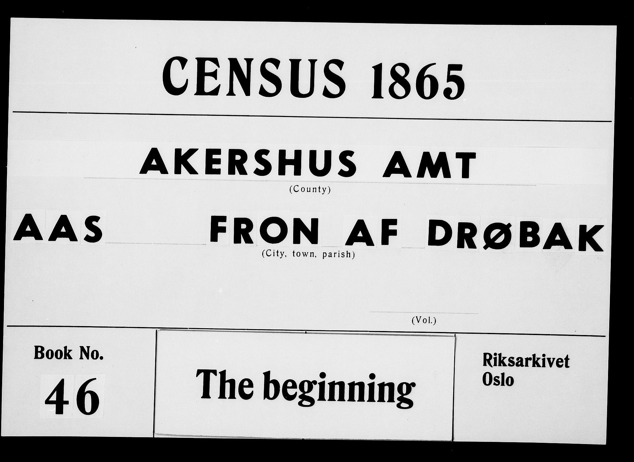 RA, Folketelling 1865 for 0214P Ås prestegjeld, 1865, s. 1