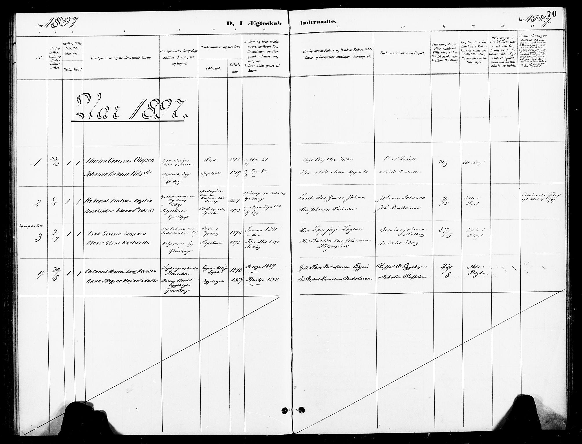 SAT, Ministerialprotokoller, klokkerbøker og fødselsregistre - Nord-Trøndelag, 740/L0379: Ministerialbok nr. 740A02, 1895-1907, s. 70