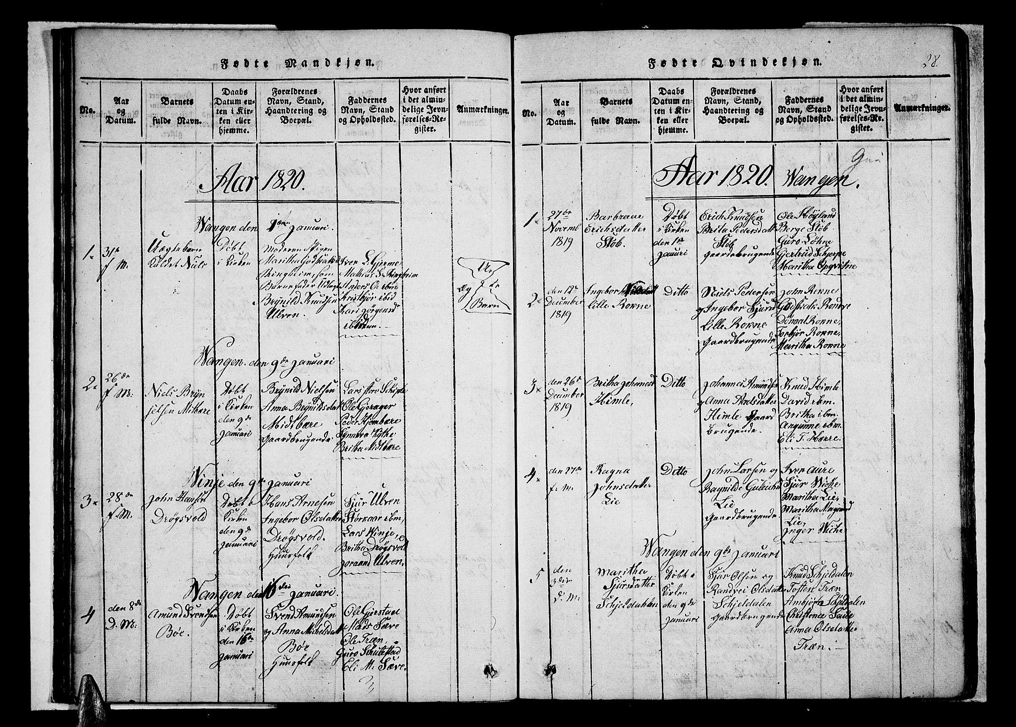 SAB, Voss Sokneprestembete, H/Haa: Ministerialbok nr. A 11, 1816-1827, s. 28