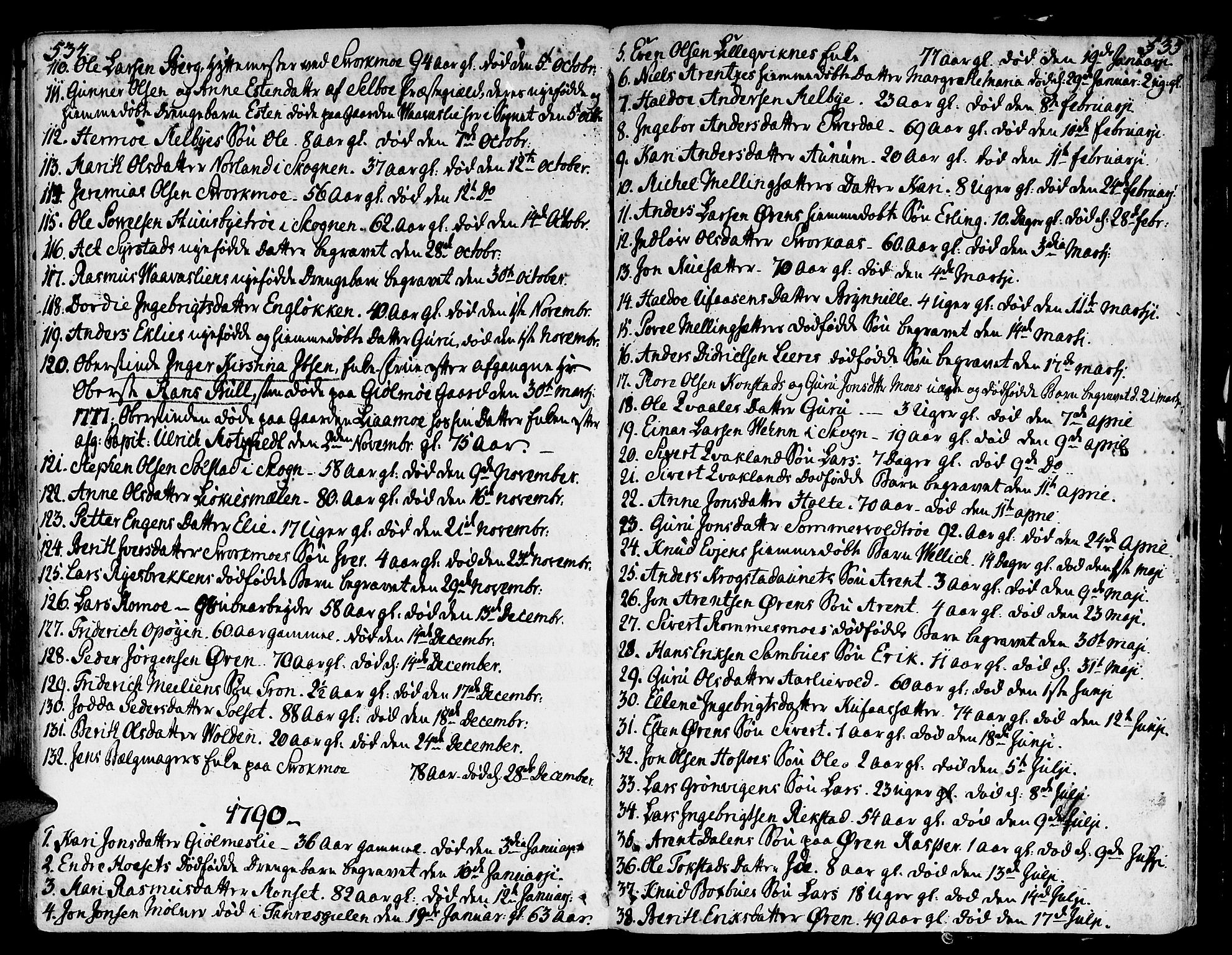 SAT, Ministerialprotokoller, klokkerbøker og fødselsregistre - Sør-Trøndelag, 668/L0802: Ministerialbok nr. 668A02, 1776-1799, s. 534-535