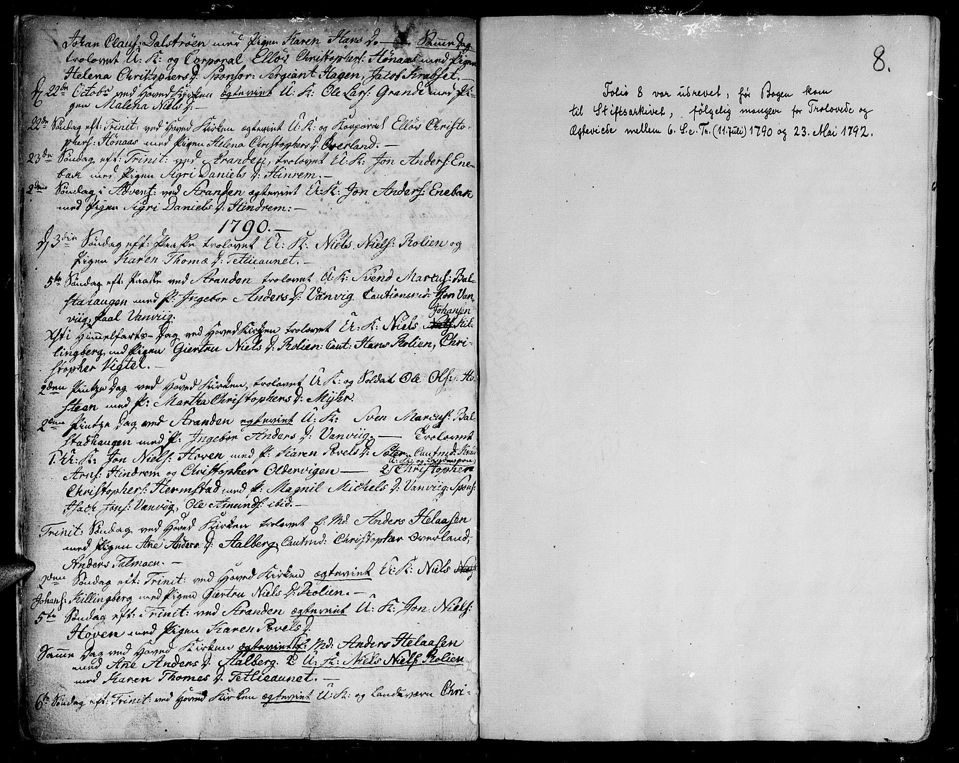 SAT, Ministerialprotokoller, klokkerbøker og fødselsregistre - Nord-Trøndelag, 701/L0004: Ministerialbok nr. 701A04, 1783-1816, s. 8