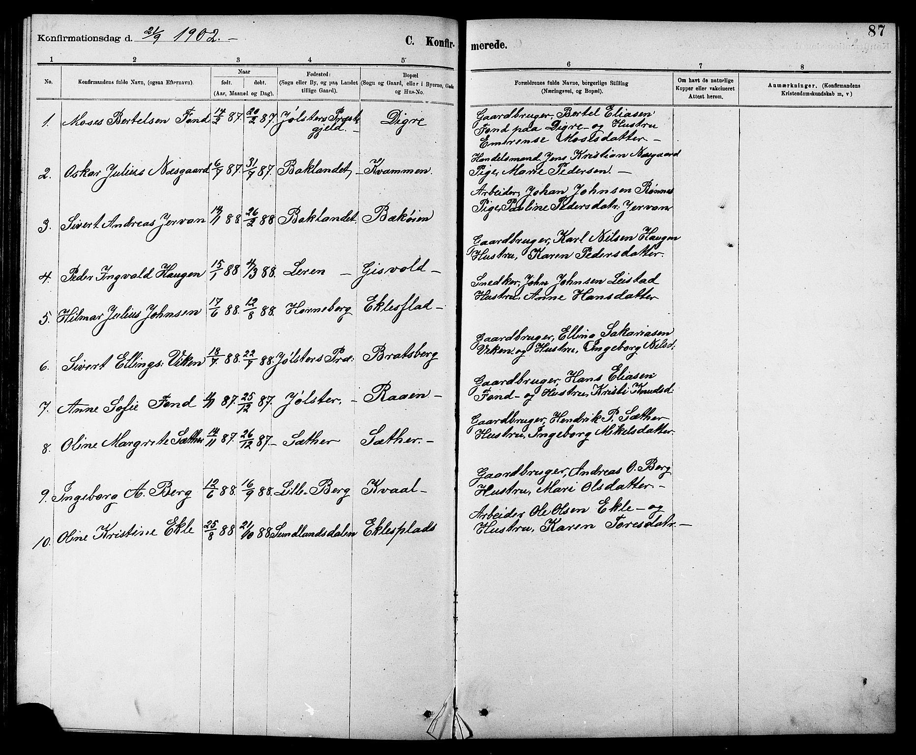 SAT, Ministerialprotokoller, klokkerbøker og fødselsregistre - Sør-Trøndelag, 608/L0341: Klokkerbok nr. 608C07, 1890-1912, s. 87