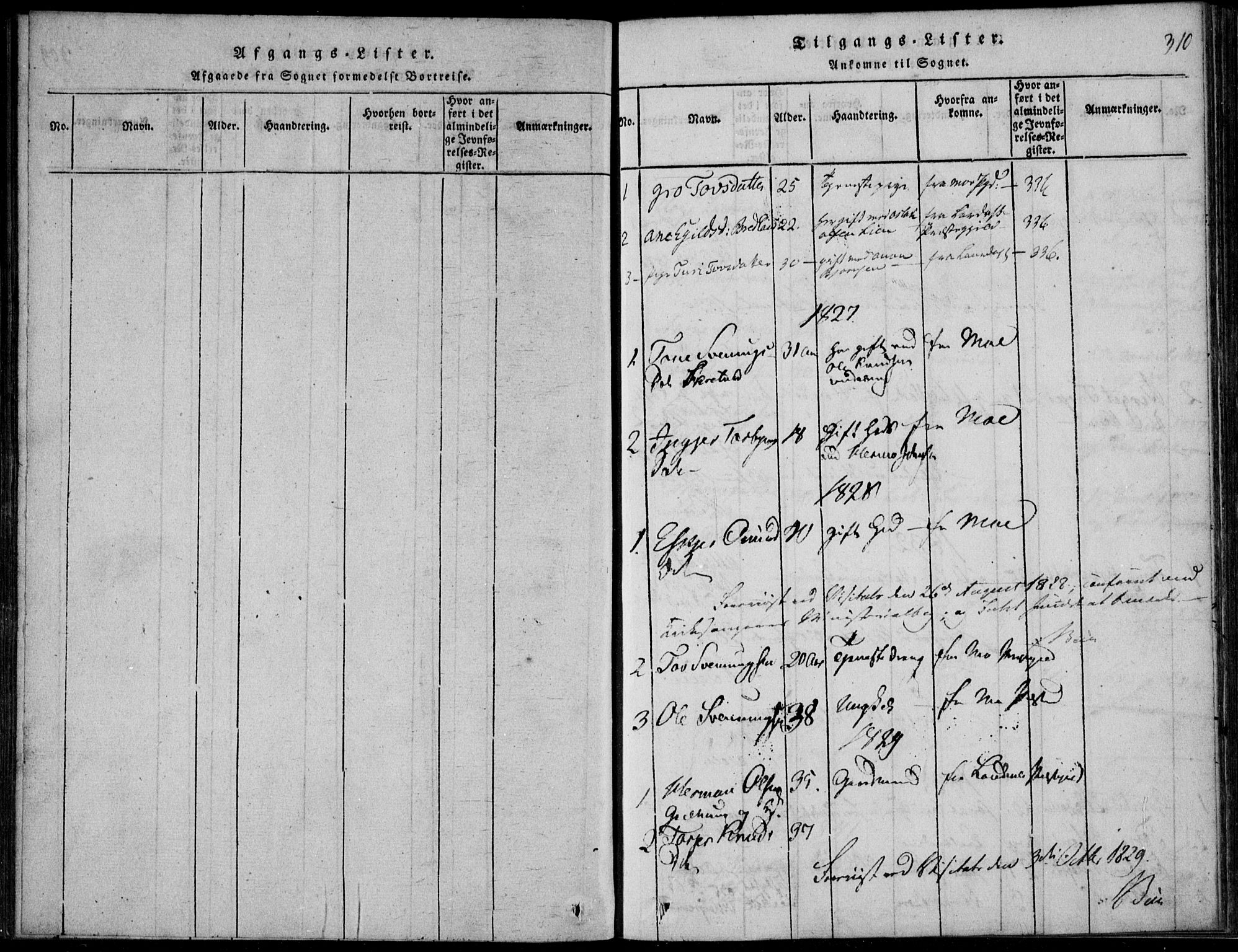 SAKO, Vinje kirkebøker, F/Fb/L0001: Ministerialbok nr. II 1, 1814-1843, s. 310