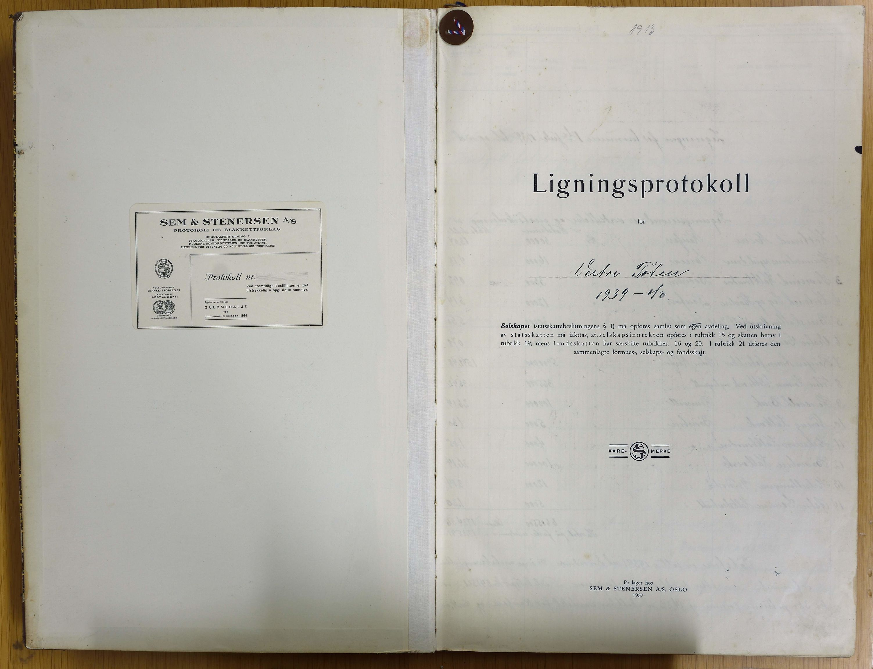 KVT, Vestre Toten kommunearkiv: Ligningsprotokoll for Vestre Toten kommune 1939-1940, 1939-1940