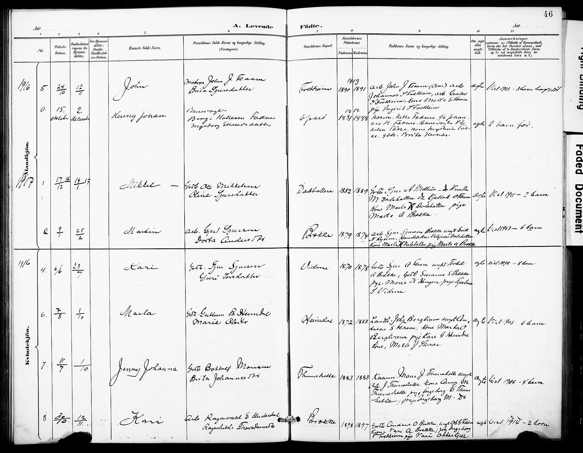 SAB, Aurland Sokneprestembete*, Klokkerbok nr. B 2, 1887-1929, s. 46