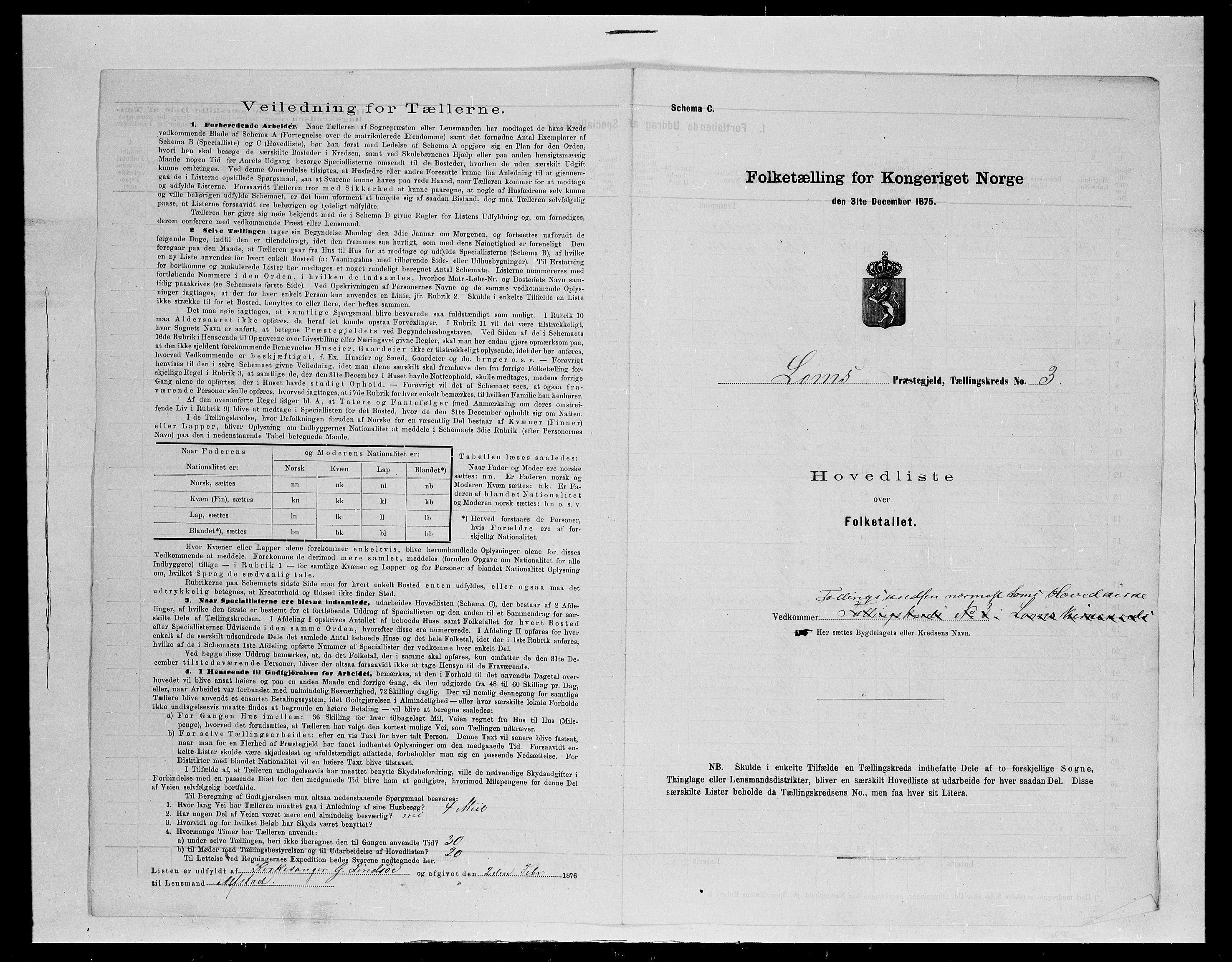 SAH, Folketelling 1875 for 0514P Lom prestegjeld, 1875, s. 19