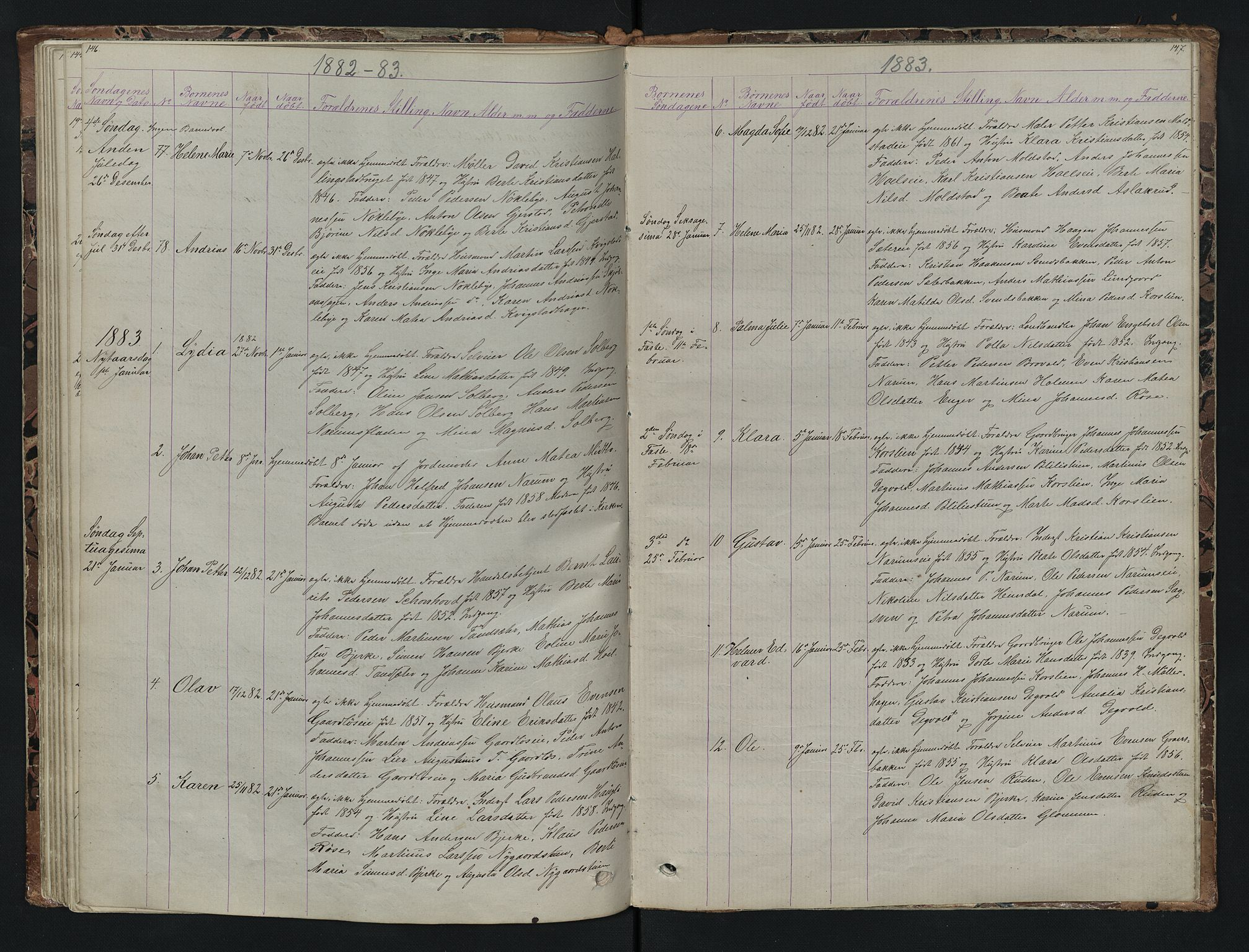 SAH, Vestre Toten prestekontor, H/Ha/Hab/L0007: Klokkerbok nr. 7, 1872-1900, s. 146-147