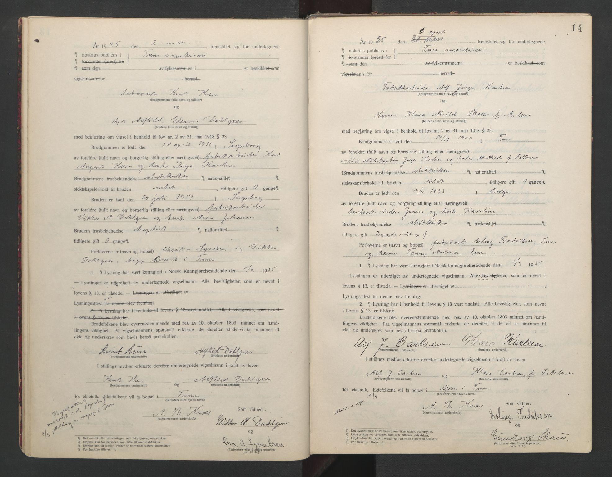 SAO, Tune sorenskriveri, L/Lb/L0001: Vigselprotokoll, 1923-1943, s. 14
