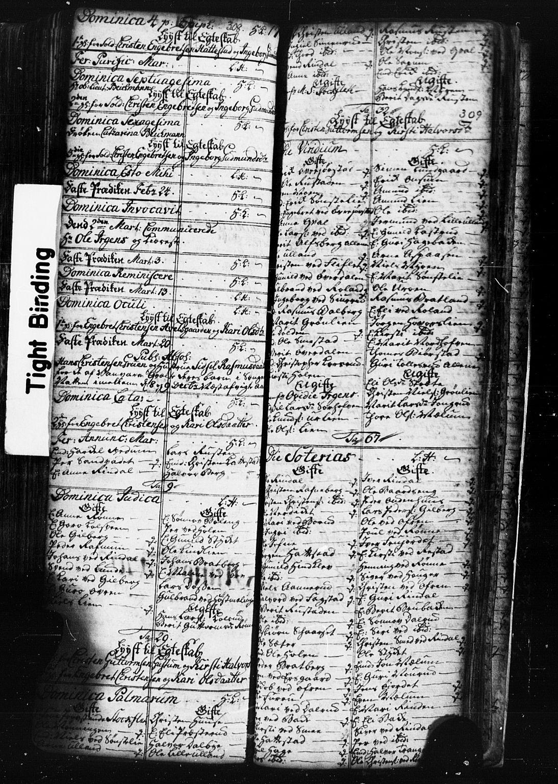 SAH, Fåberg prestekontor, Klokkerbok nr. 1, 1727-1767, s. 308-309