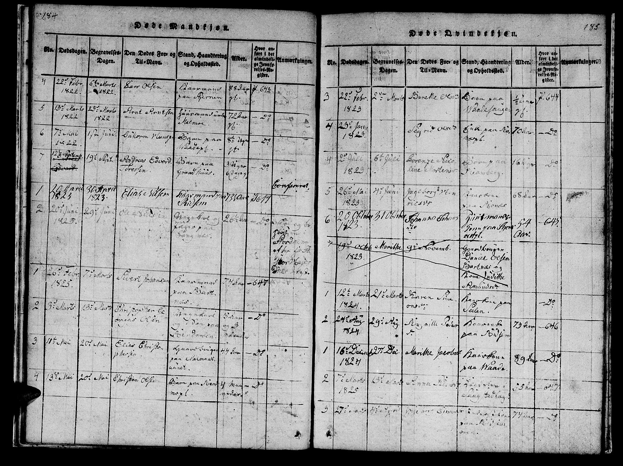 SAT, Ministerialprotokoller, klokkerbøker og fødselsregistre - Nord-Trøndelag, 745/L0433: Klokkerbok nr. 745C02, 1817-1825, s. 184-185