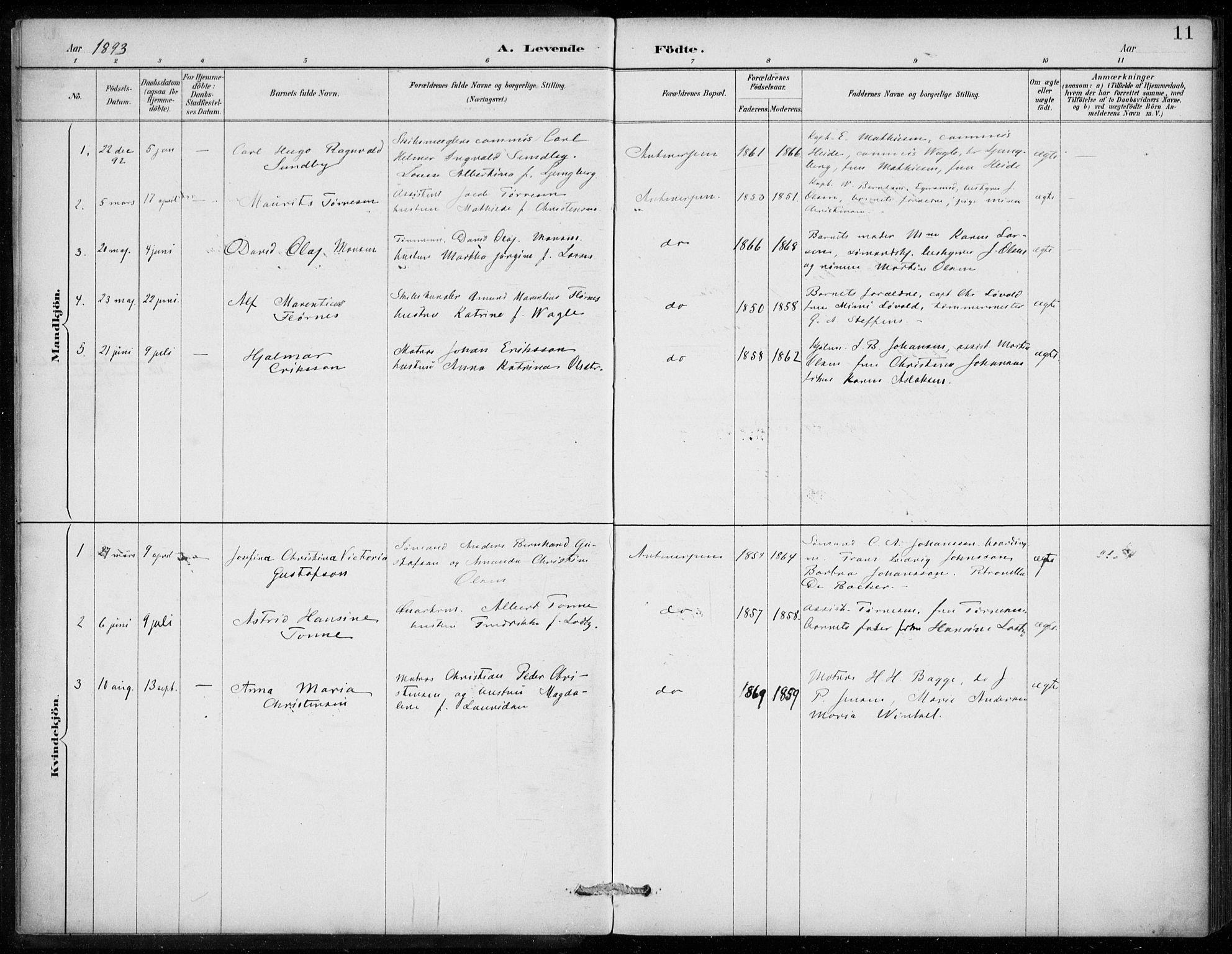 SAB, Den Norske Sjømannsmisjon i utlandet*, Ministerialbok nr. A 2, 1887-1913, s. 11