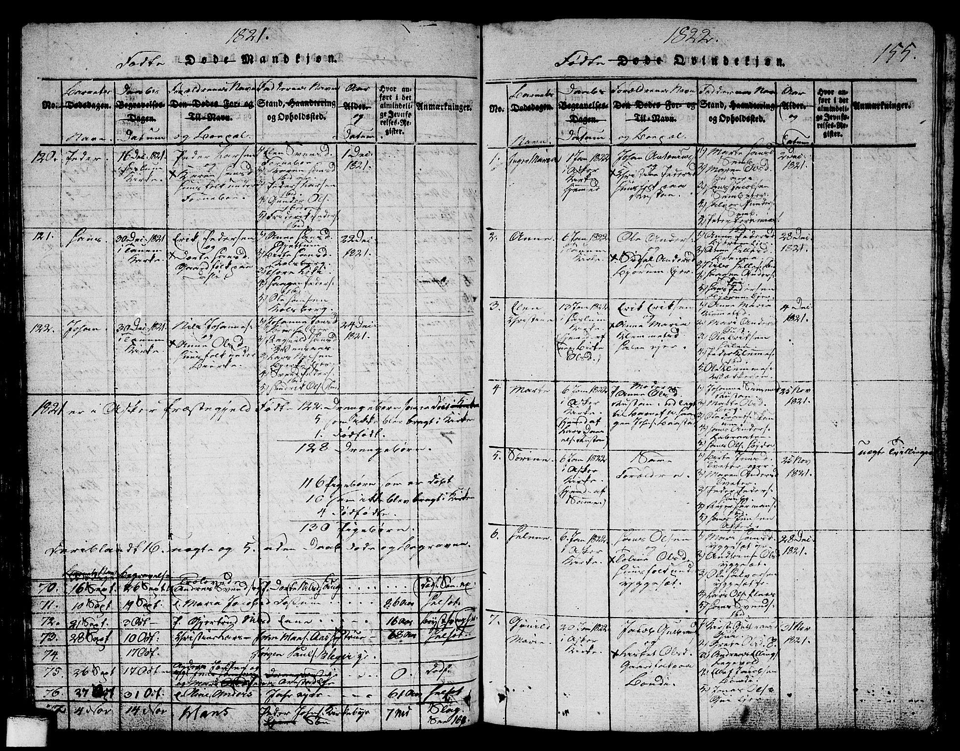 SAO, Asker prestekontor Kirkebøker, G/Ga/L0001: Klokkerbok nr. I 1, 1814-1830, s. 155