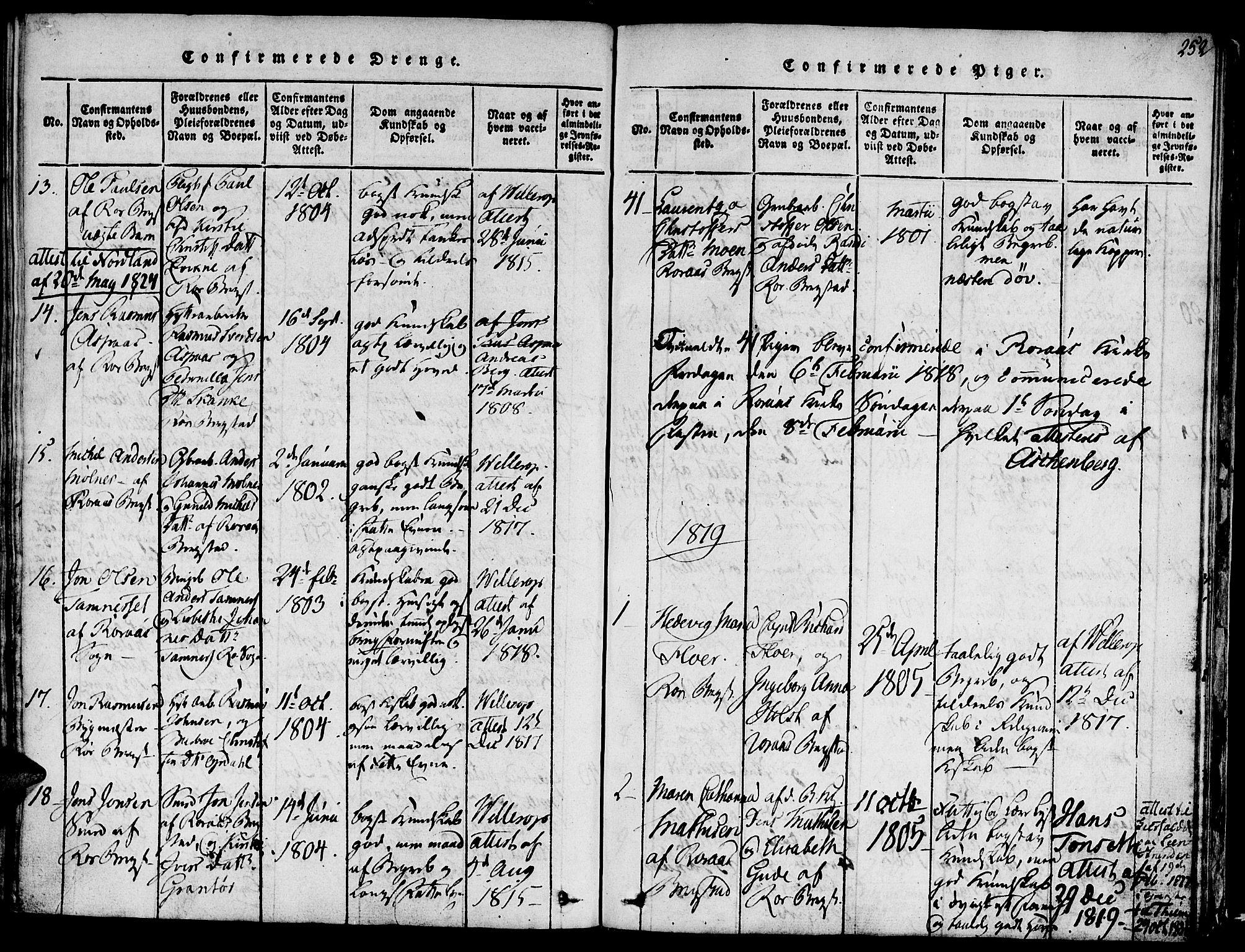 SAT, Ministerialprotokoller, klokkerbøker og fødselsregistre - Sør-Trøndelag, 681/L0929: Ministerialbok nr. 681A07, 1817-1828, s. 252