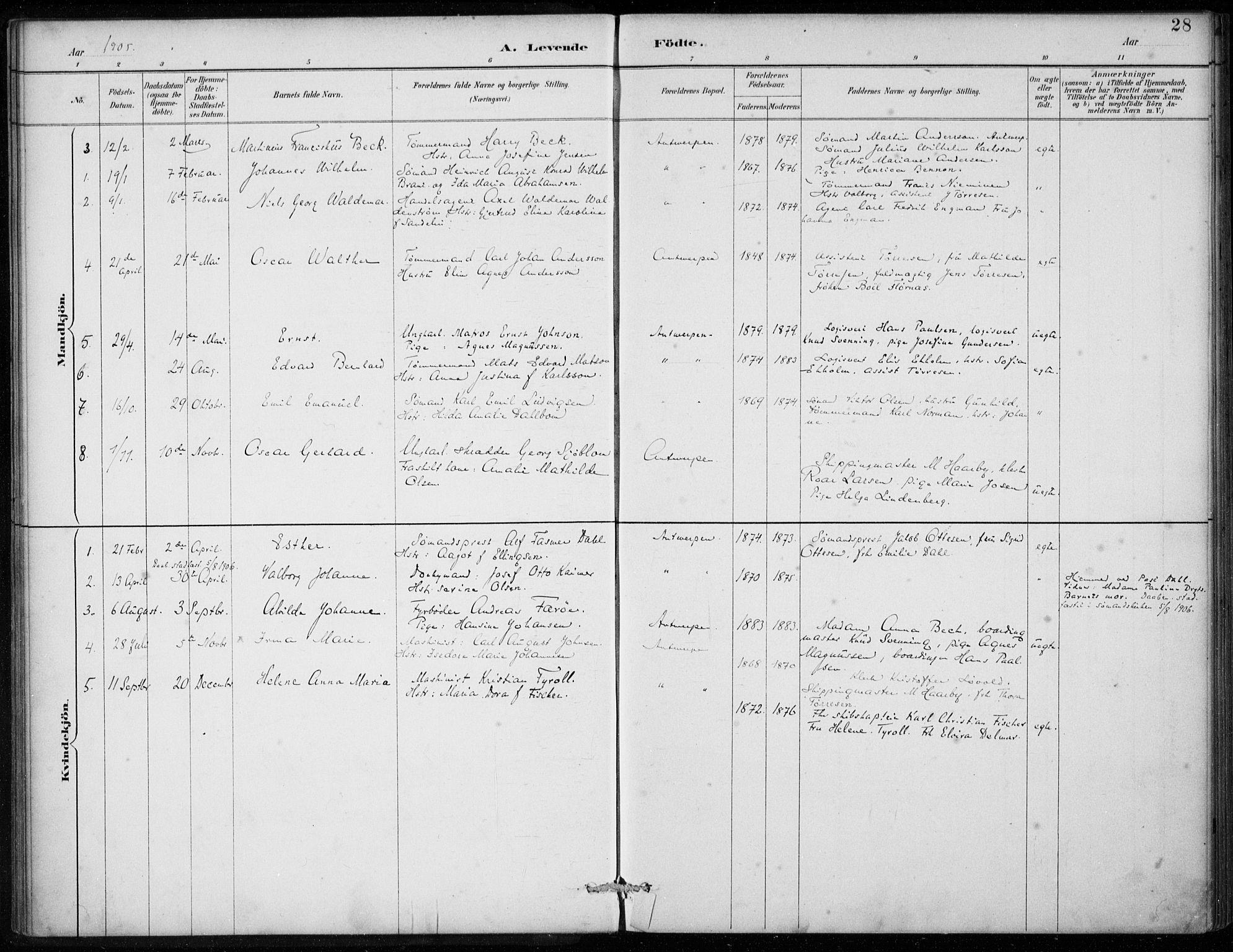 SAB, Den Norske Sjømannsmisjon i utlandet*, Ministerialbok nr. A 2, 1887-1913, s. 28