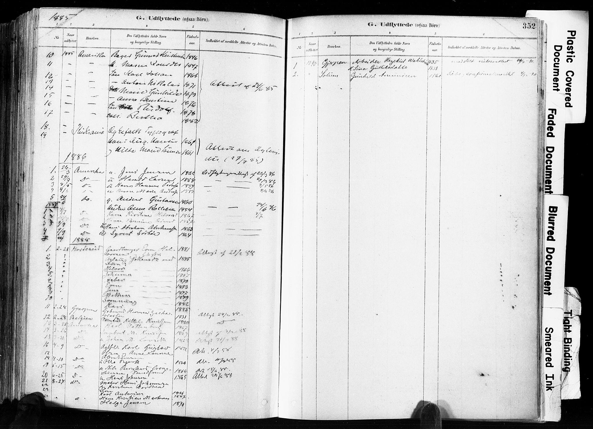 SAKO, Skien kirkebøker, F/Fa/L0009: Ministerialbok nr. 9, 1878-1890, s. 352
