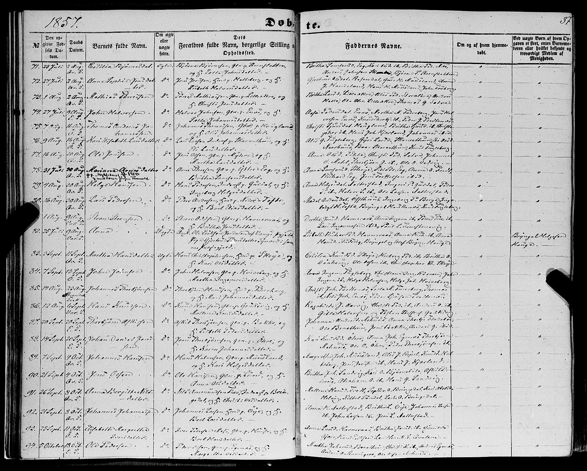 SAB, Kvinnherad Sokneprestembete, H/Haa: Ministerialbok nr. A 8, 1854-1872, s. 37