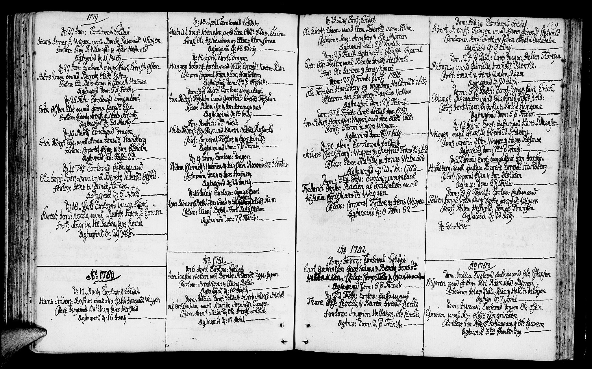 SAT, Ministerialprotokoller, klokkerbøker og fødselsregistre - Sør-Trøndelag, 665/L0768: Ministerialbok nr. 665A03, 1754-1803, s. 129