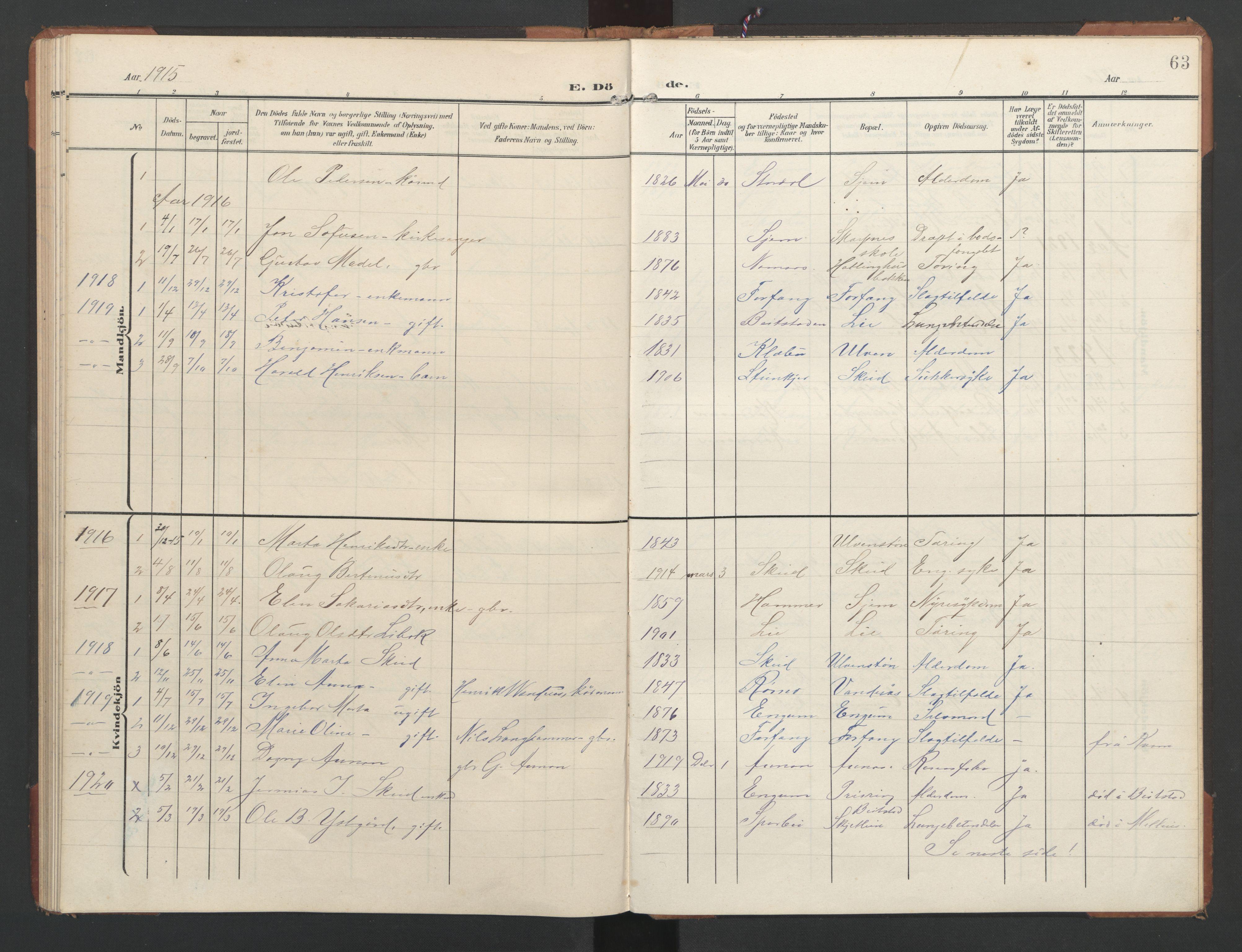 SAT, Ministerialprotokoller, klokkerbøker og fødselsregistre - Nord-Trøndelag, 748/L0465: Klokkerbok nr. 748C01, 1908-1960, s. 63