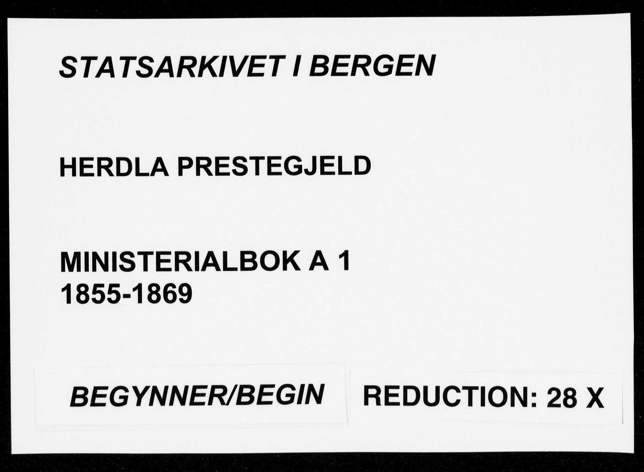 SAB, Herdla Sokneprestembete, H/Haa: Ministerialbok nr. A 1, 1855-1869